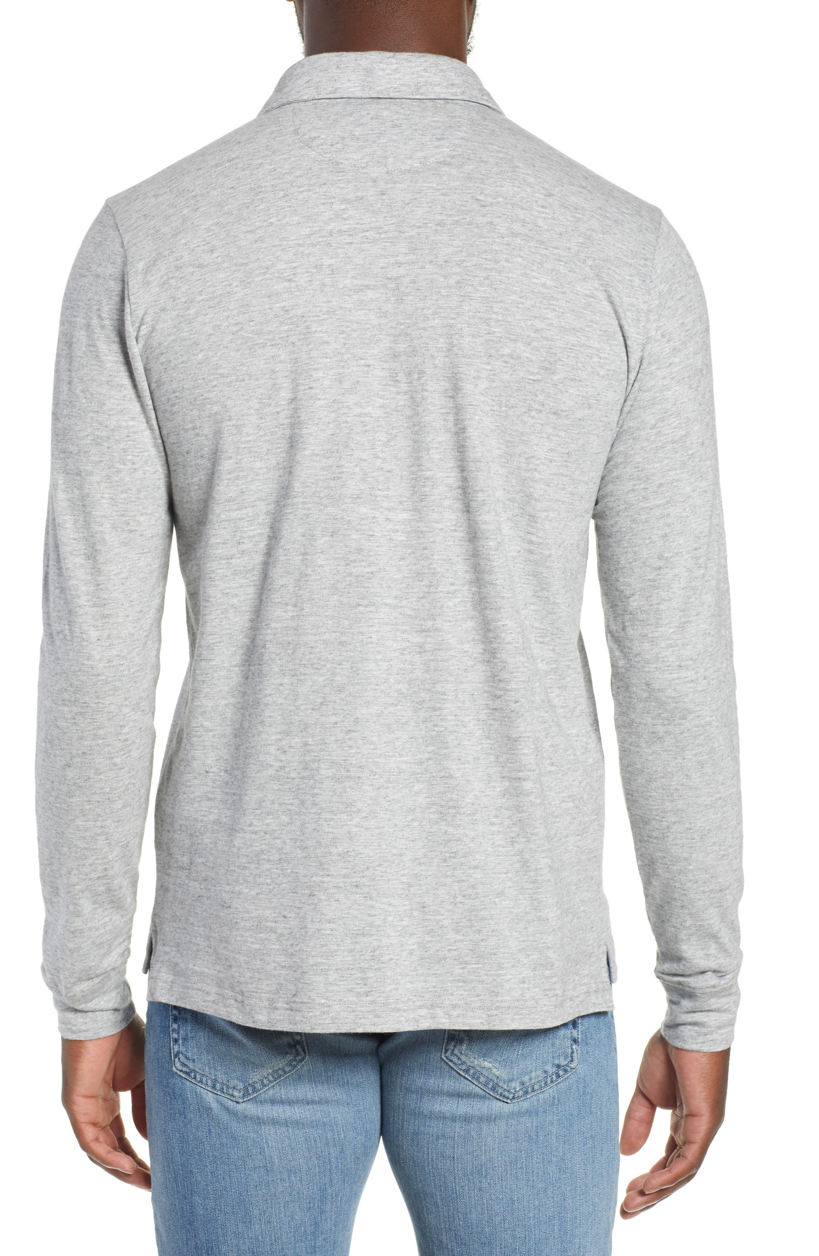 Luxe Heather Long Sleeve Polo,                             Alternate thumbnail 2, color,                             ATHLETIC GREY