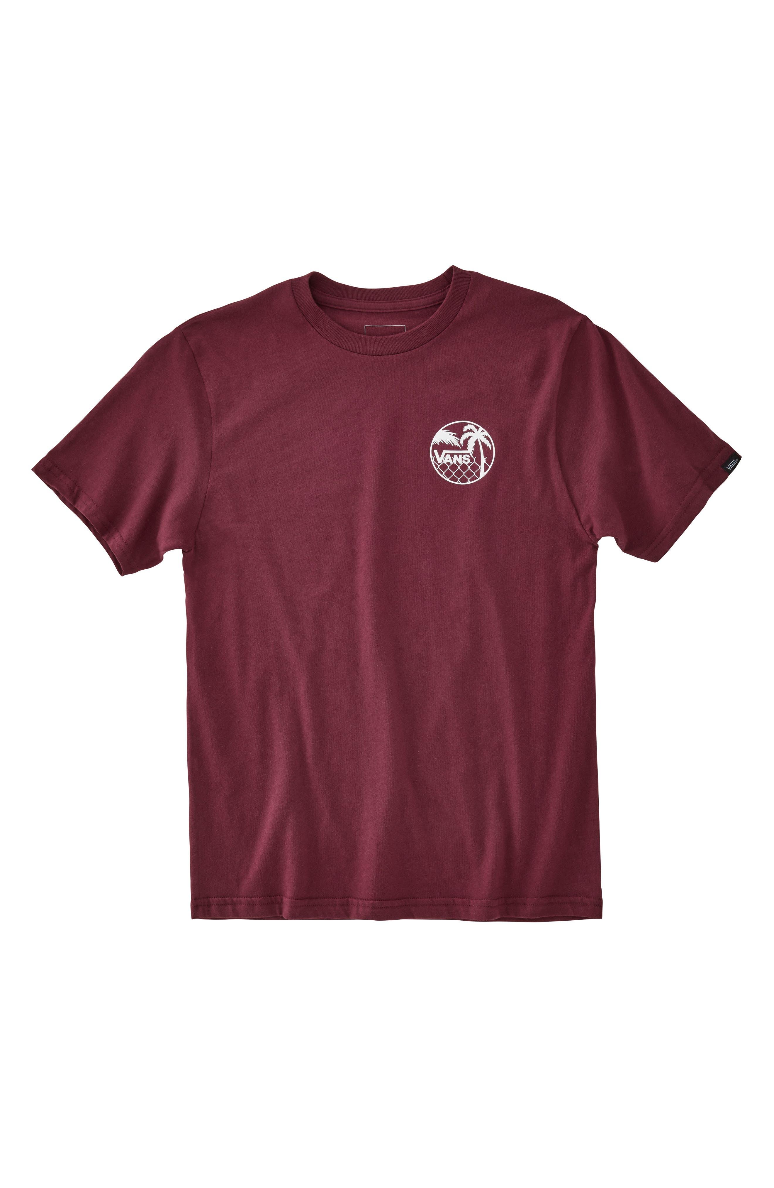 Chain Link Palm T-Shirt,                         Main,                         color, BURGUNDY