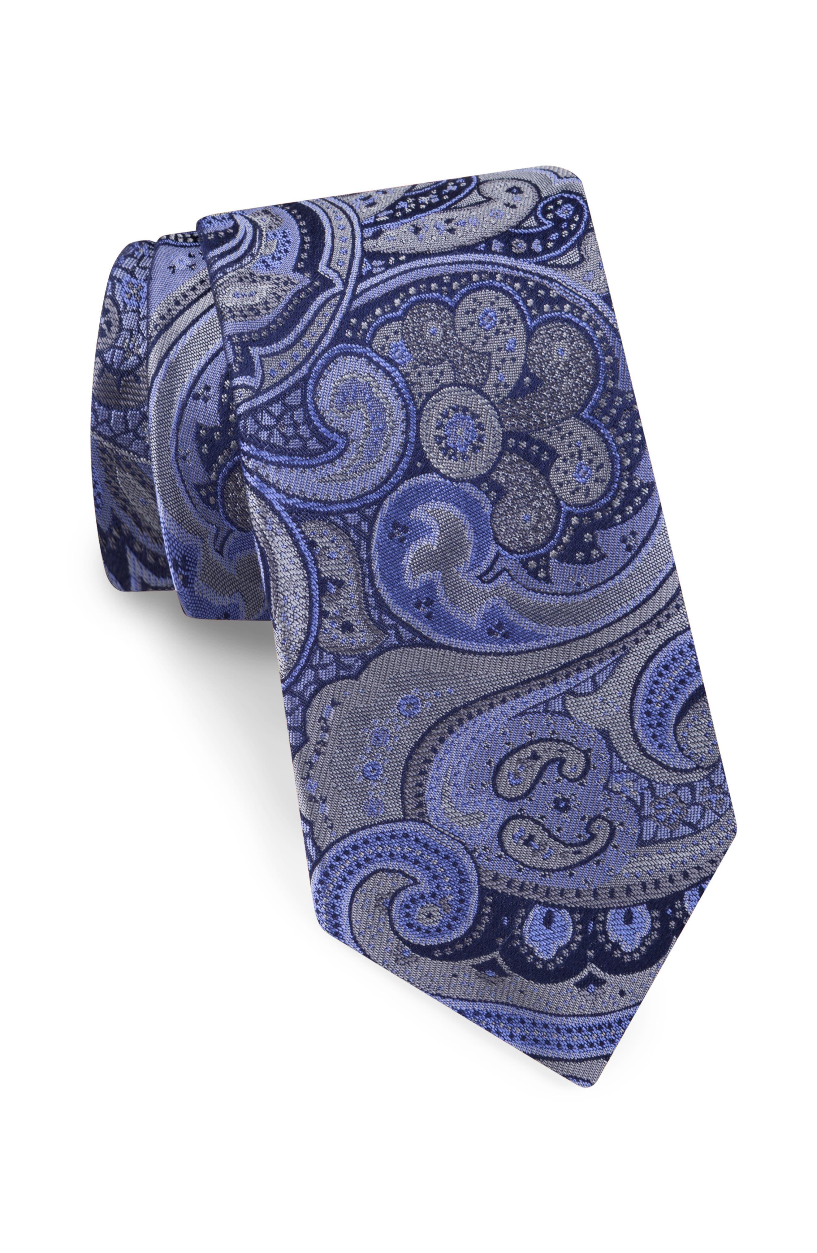 Elegant Paisley Silk Tie,                         Main,                         color, GRAY