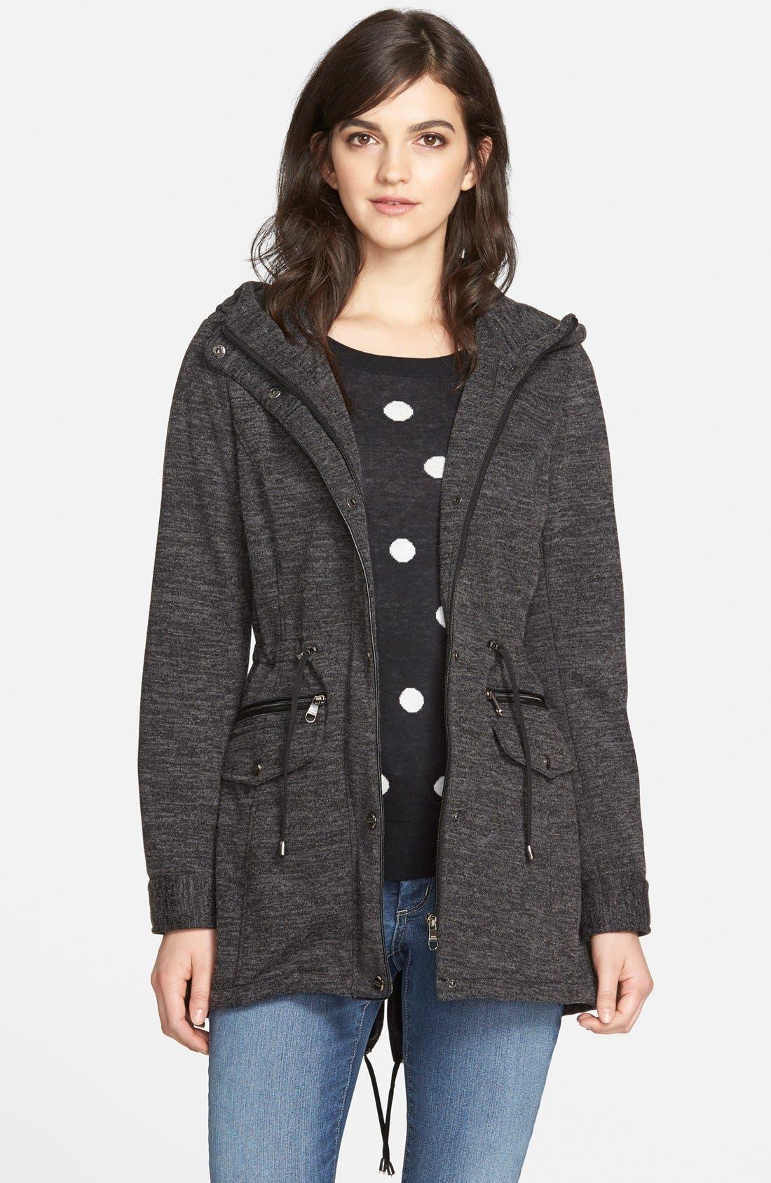 STEVE MADDEN Sweater Knit Anorak, Main, color, 020