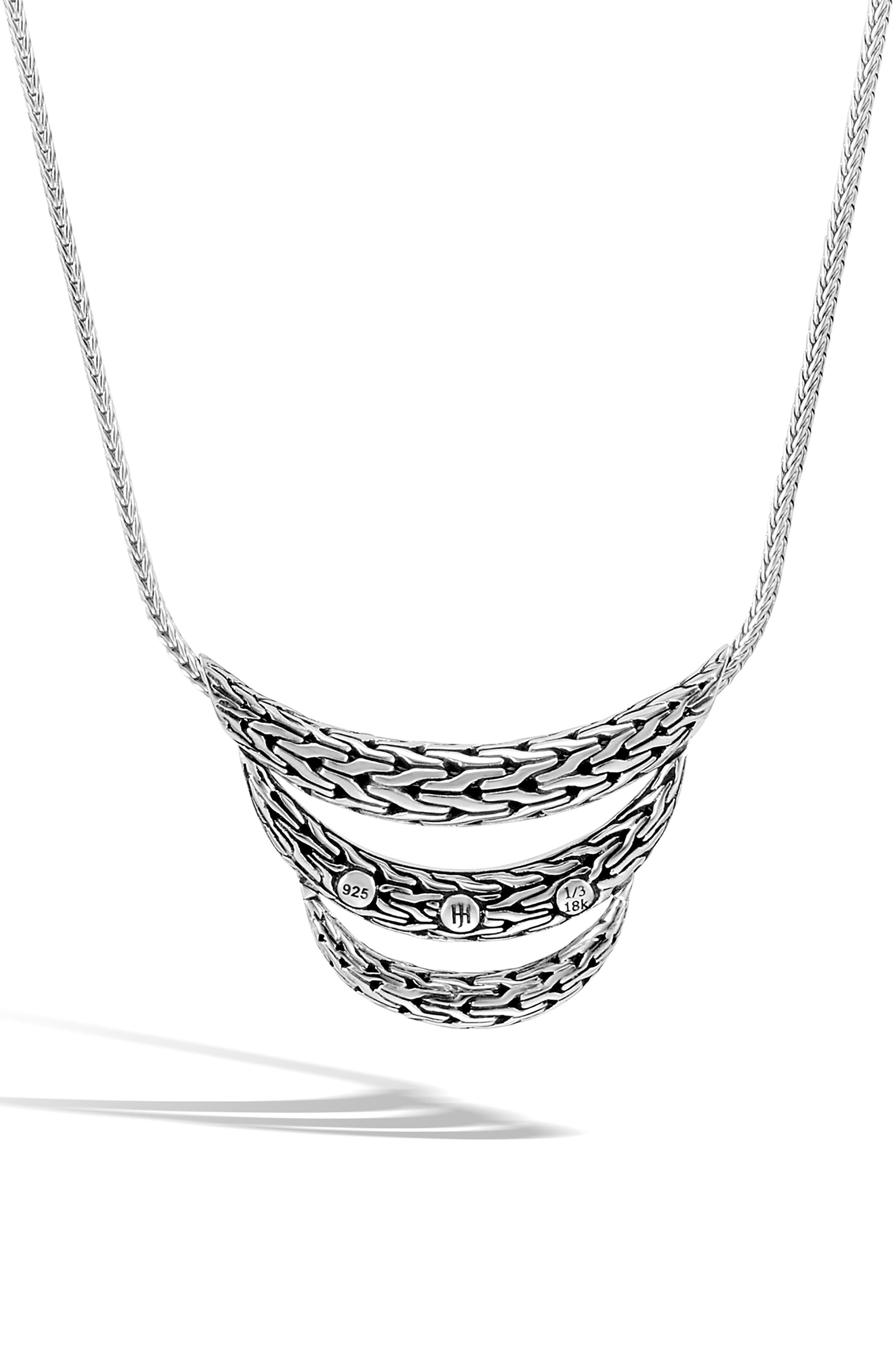 Classic Chain Sterling Silver & 18K Gold Bib Necklace,                             Alternate thumbnail 2, color,                             SILVER/ GOLD