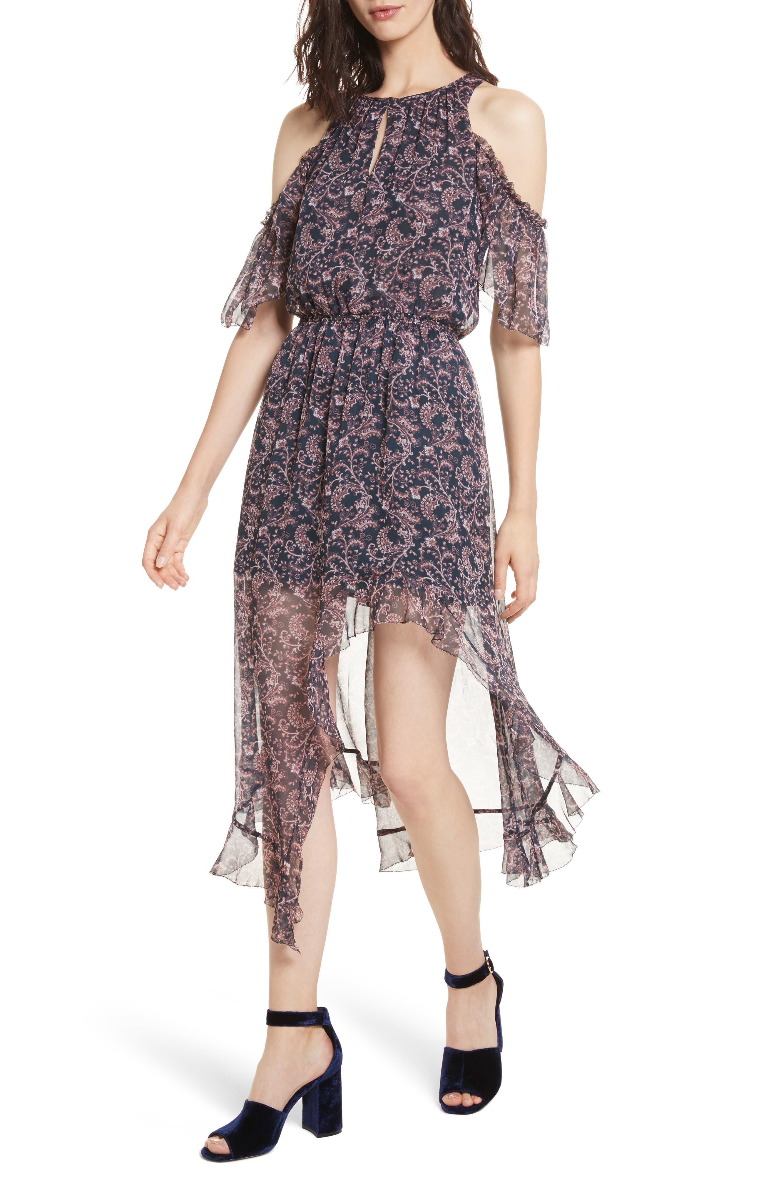Agnek Cold Shoulder Silk Dress,                             Alternate thumbnail 4, color,                             694