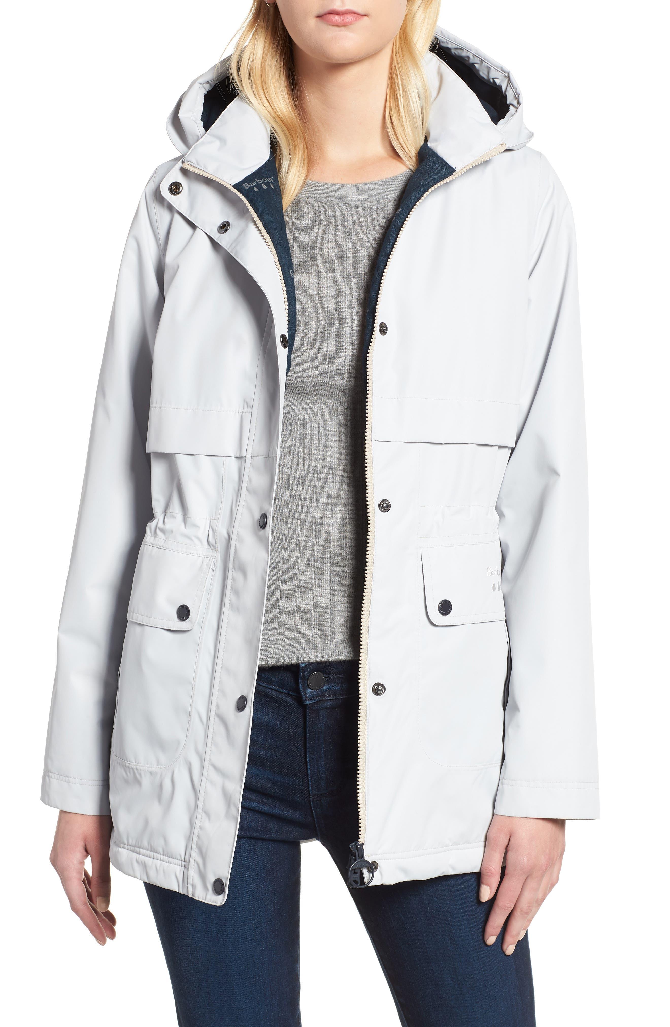 Barbour Altair Waterproof Hooded Jacket, US / 16 UK - White