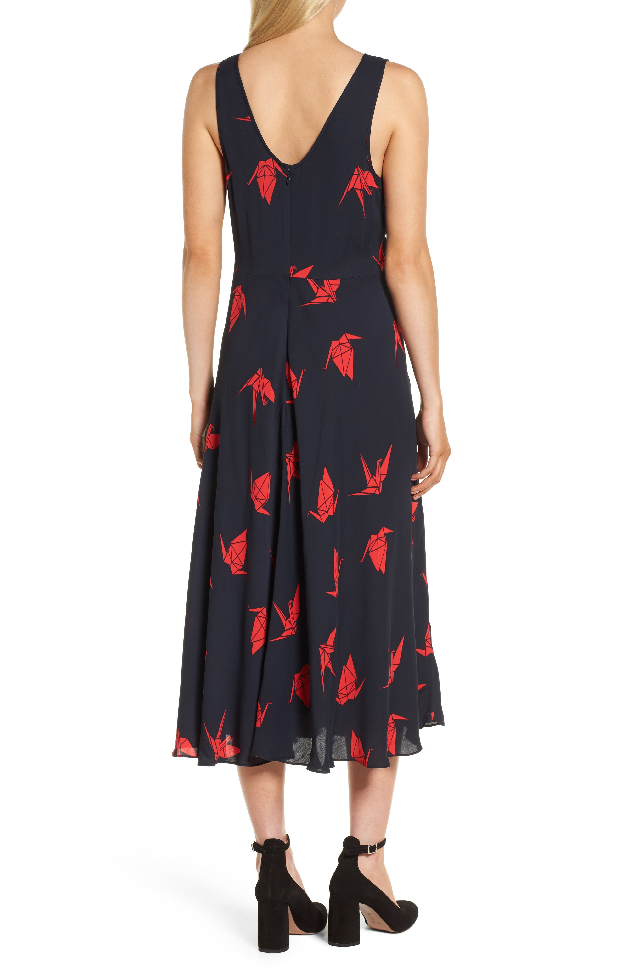 Print Midi Dress,                             Alternate thumbnail 2, color,