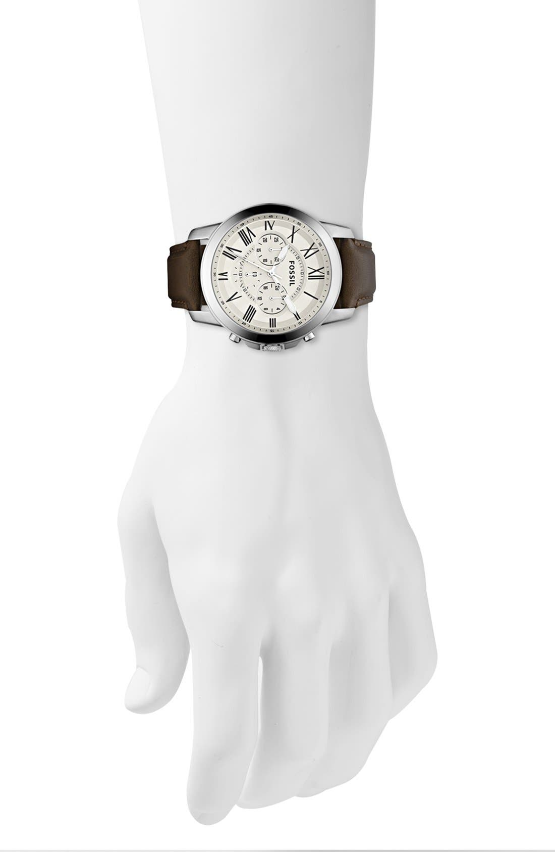 'Grant' Round Chronograph Leather Strap Watch, 44mm,                             Alternate thumbnail 40, color,