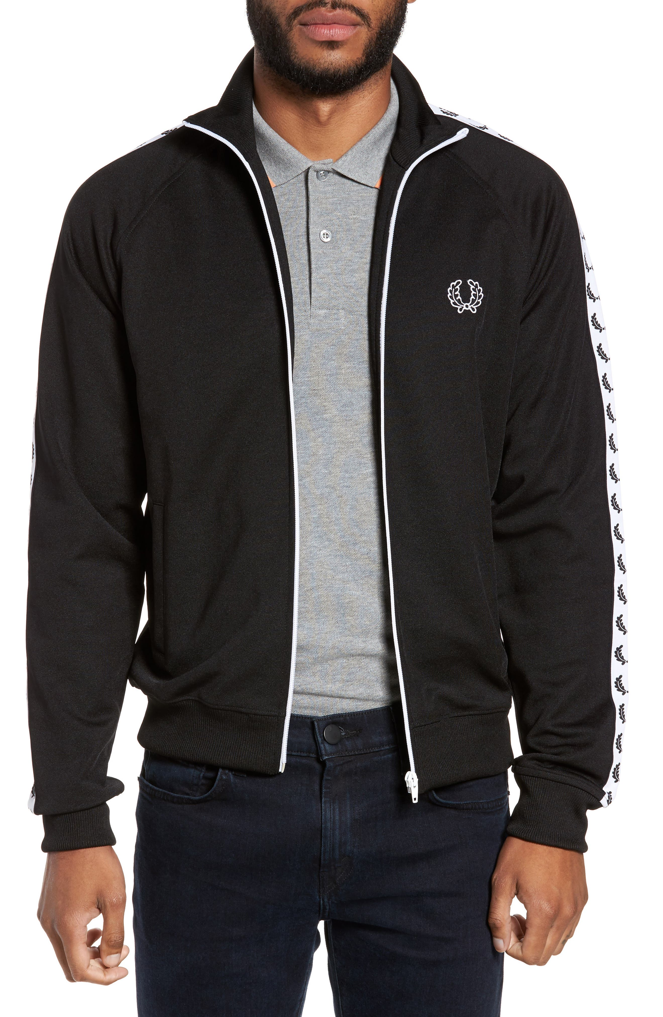 FRED PERRY,                             Laurel Tape Track Jacket,                             Main thumbnail 1, color,                             002