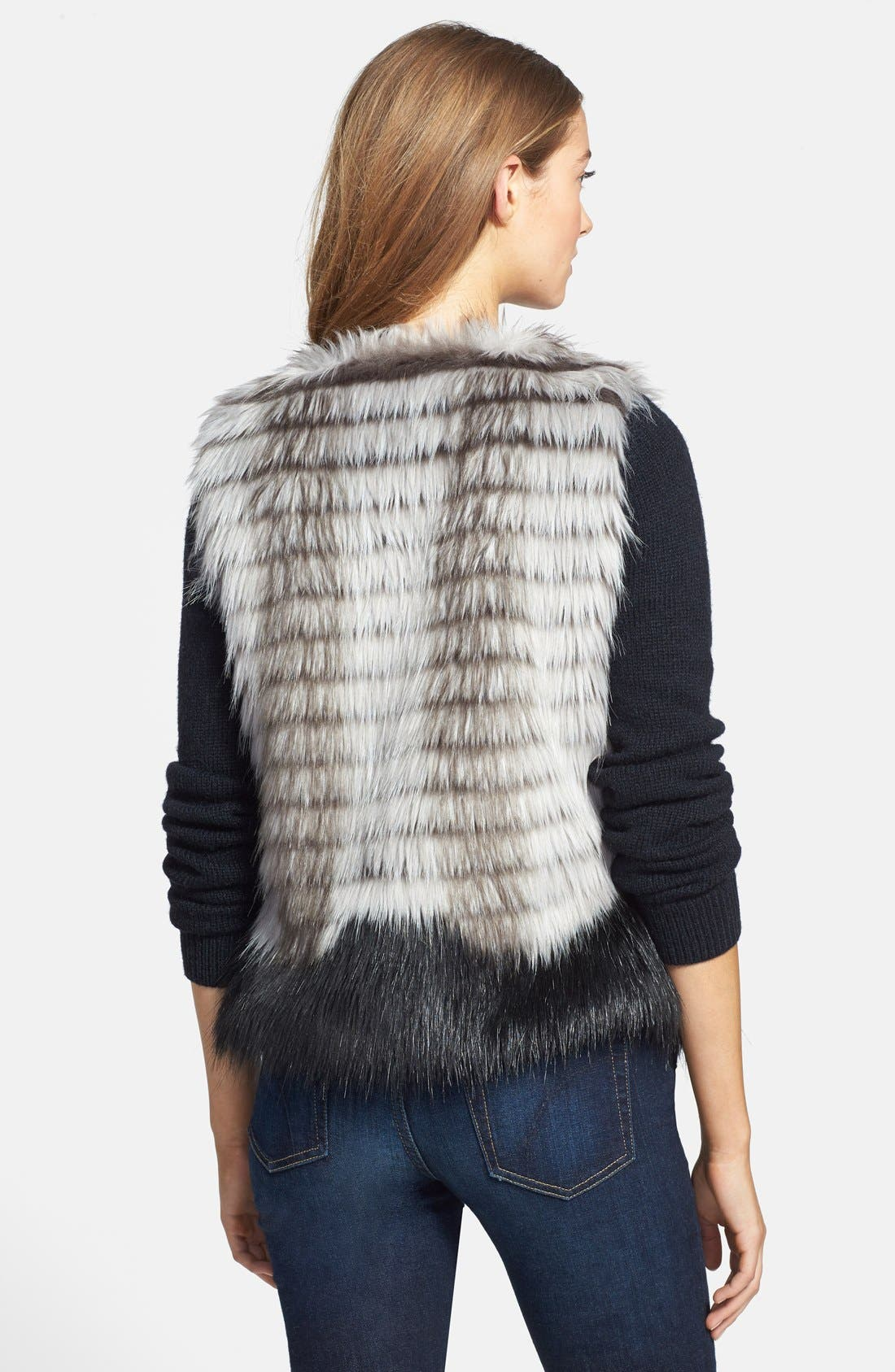 Two-Tone Faux Fur Vest,                             Alternate thumbnail 4, color,                             001