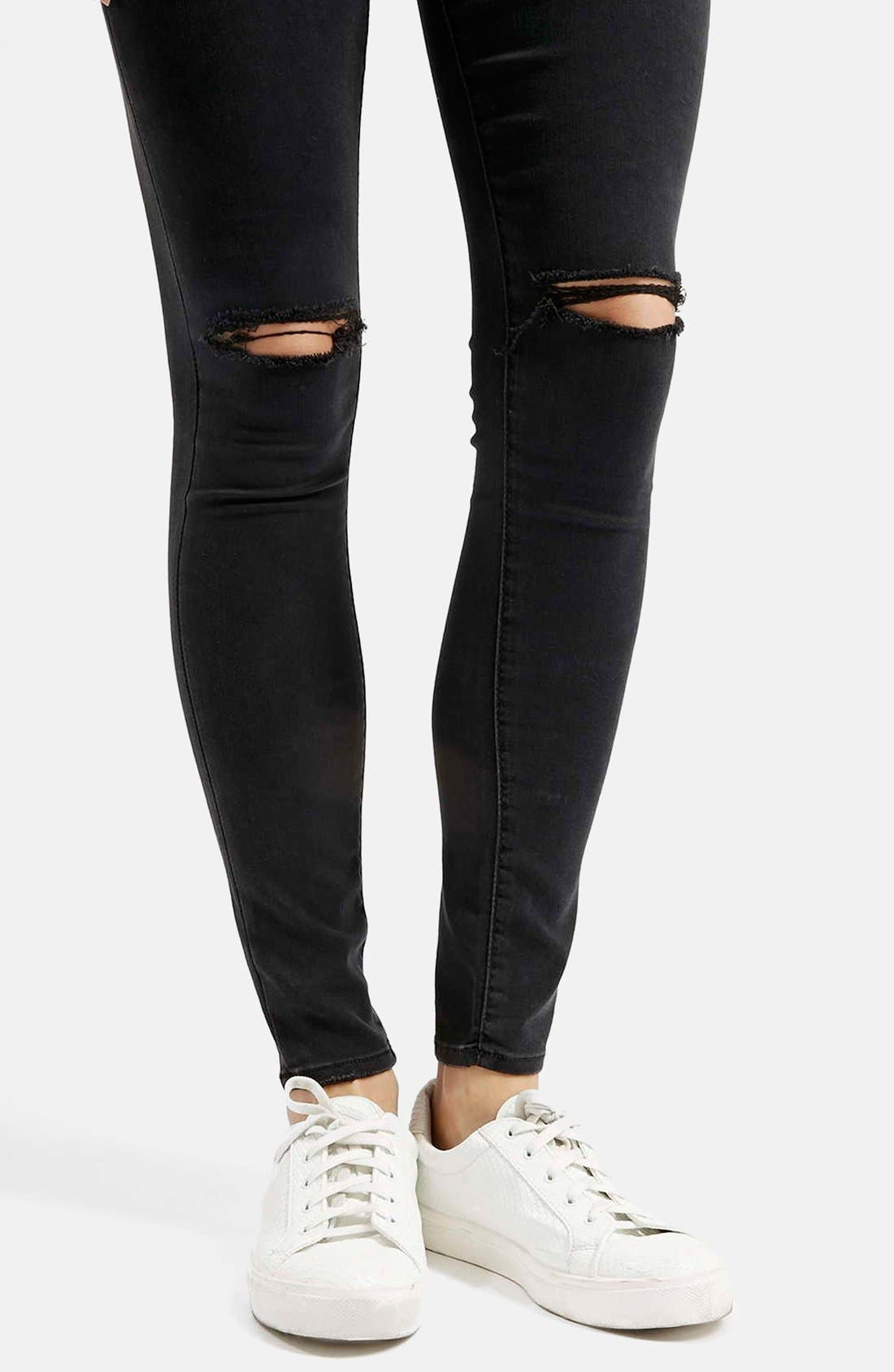 Moto 'Leigh' Ripped Skinny Jeans,                             Alternate thumbnail 5, color,                             001