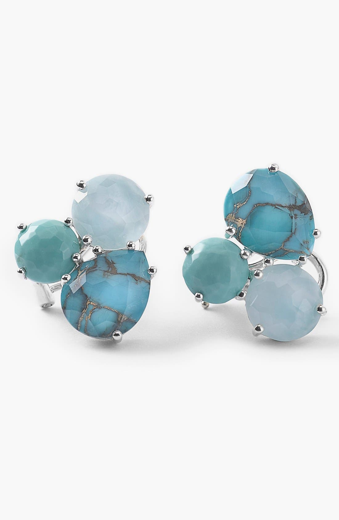 'Rock Candy' Cluster Stud Earrings,                             Main thumbnail 1, color,                             SILVER/ TURQUOISE