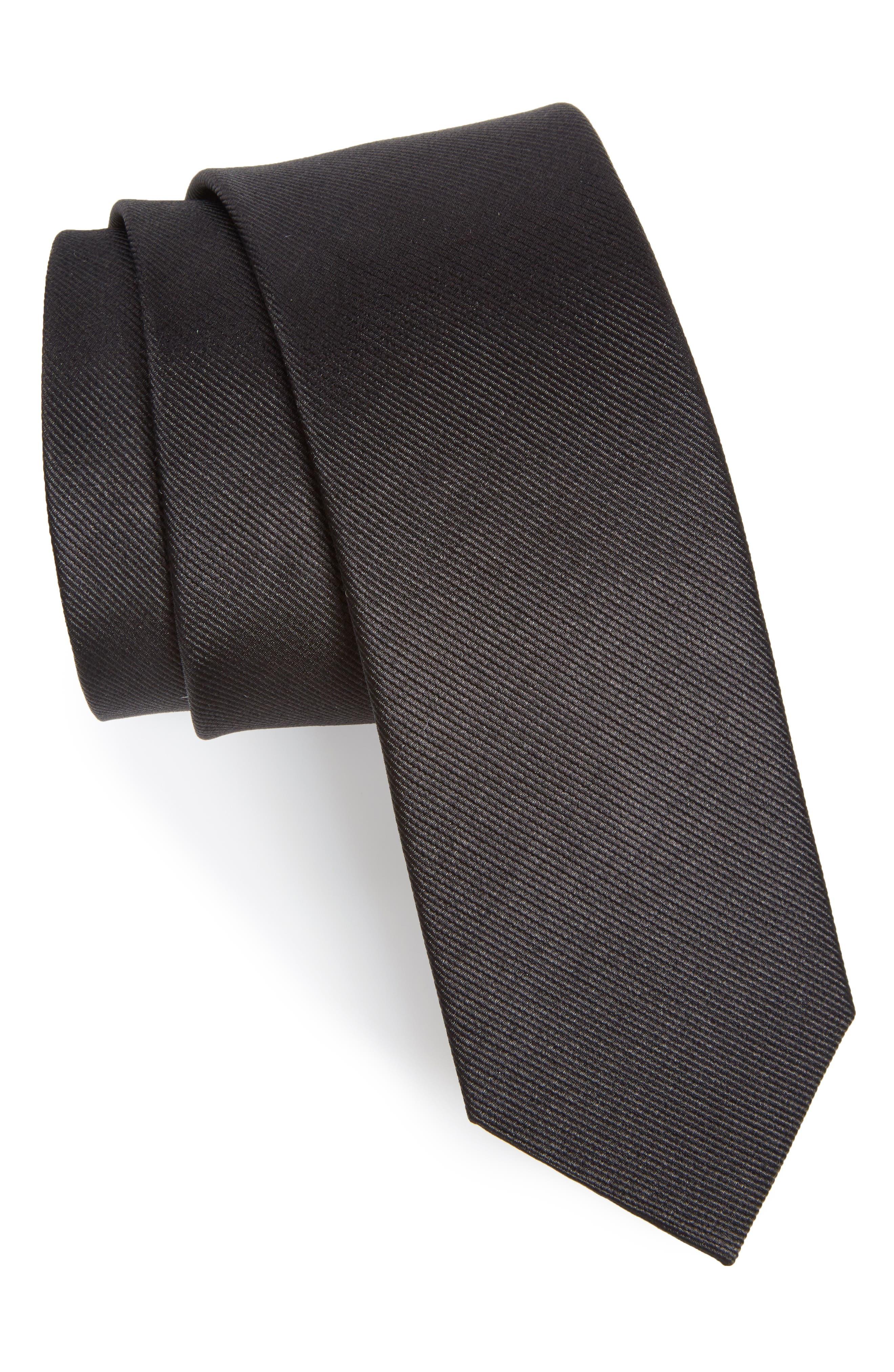 Solid Silk Tie,                         Main,                         color, BLACK