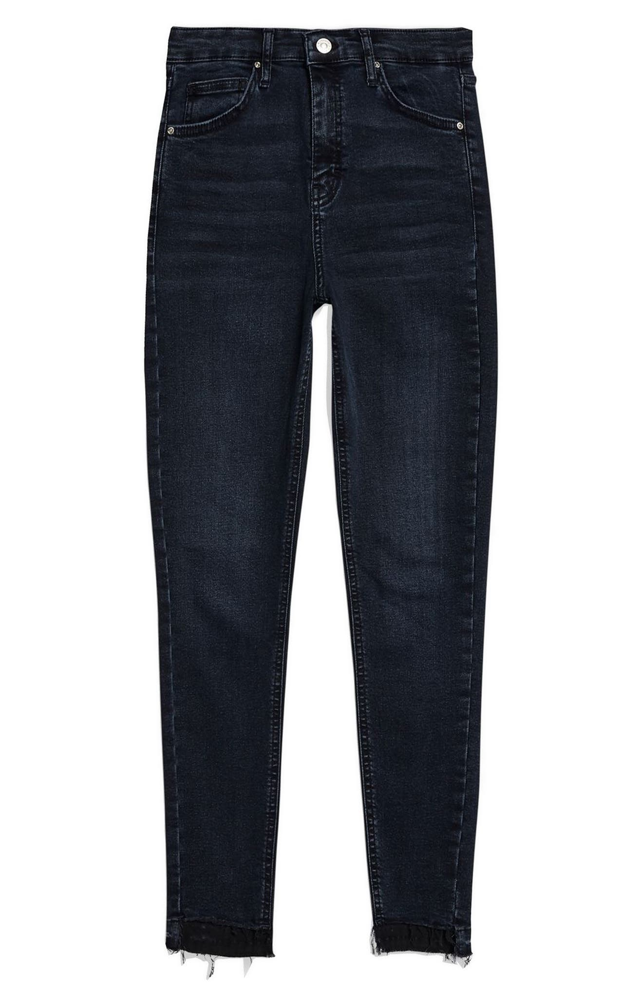 Jamie Step Hem Skinny Jeans,                             Alternate thumbnail 3, color,                             DARK BLUE
