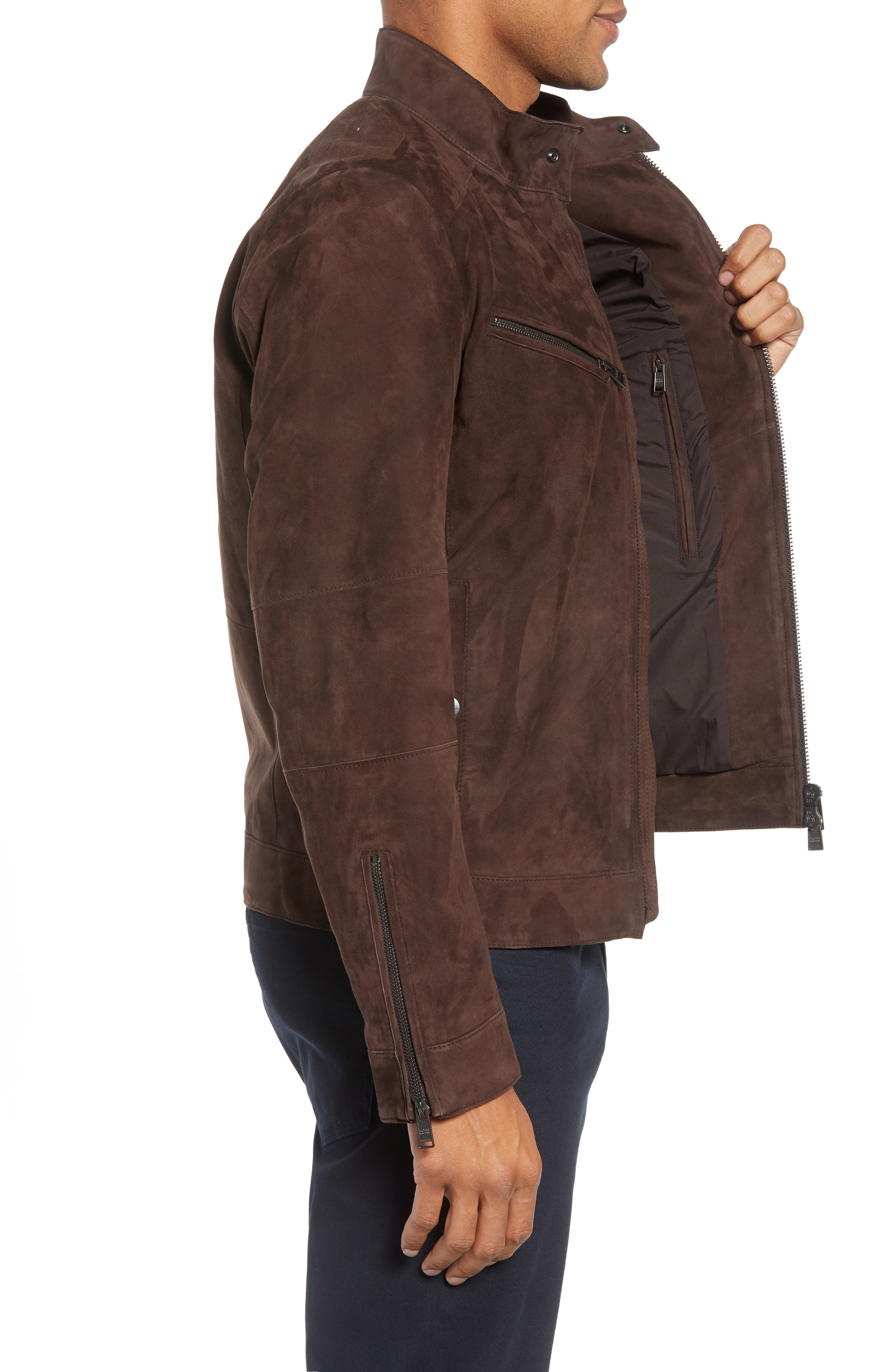 T-Nalok Suede Jacket,                             Alternate thumbnail 3, color,                             202
