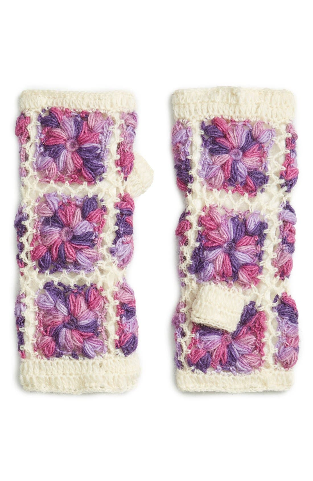 Flower Crochet Hand Warmers,                             Main thumbnail 5, color,