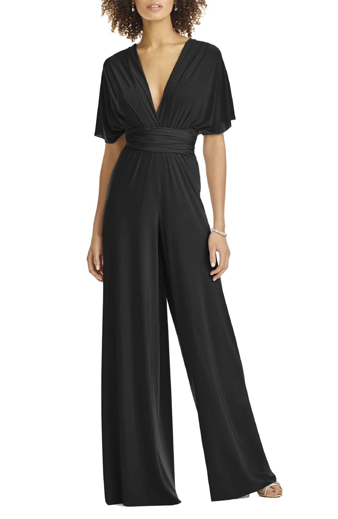 1960s – 70s Cocktail, Party, Prom, Evening Dresses Womens Dessy Collection Convertible Wide Leg Jersey Jumpsuit Size X-Large - Black $160.00 AT vintagedancer.com