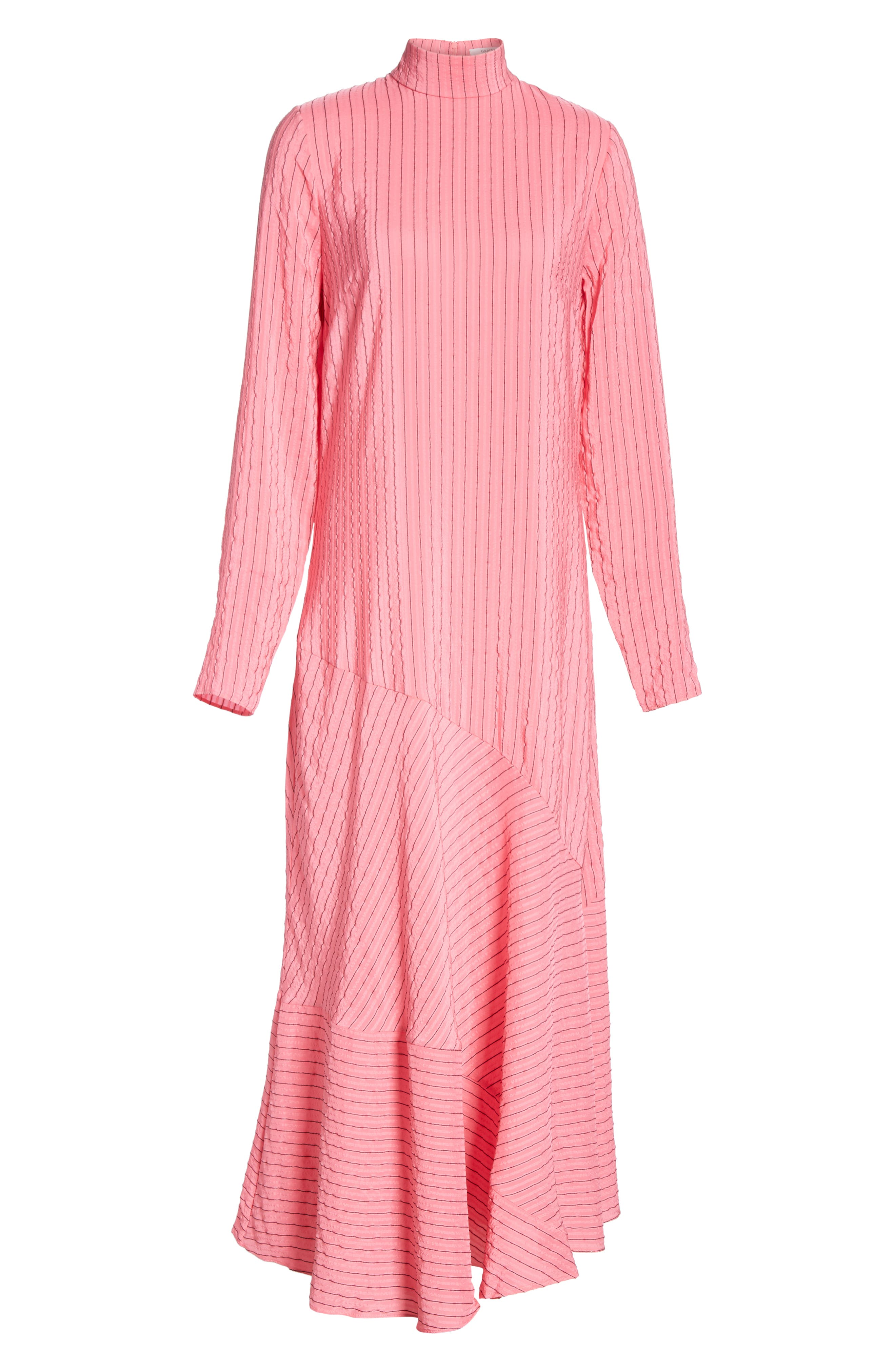 Seersucker Silk Blend Dress,                             Alternate thumbnail 6, color,                             650