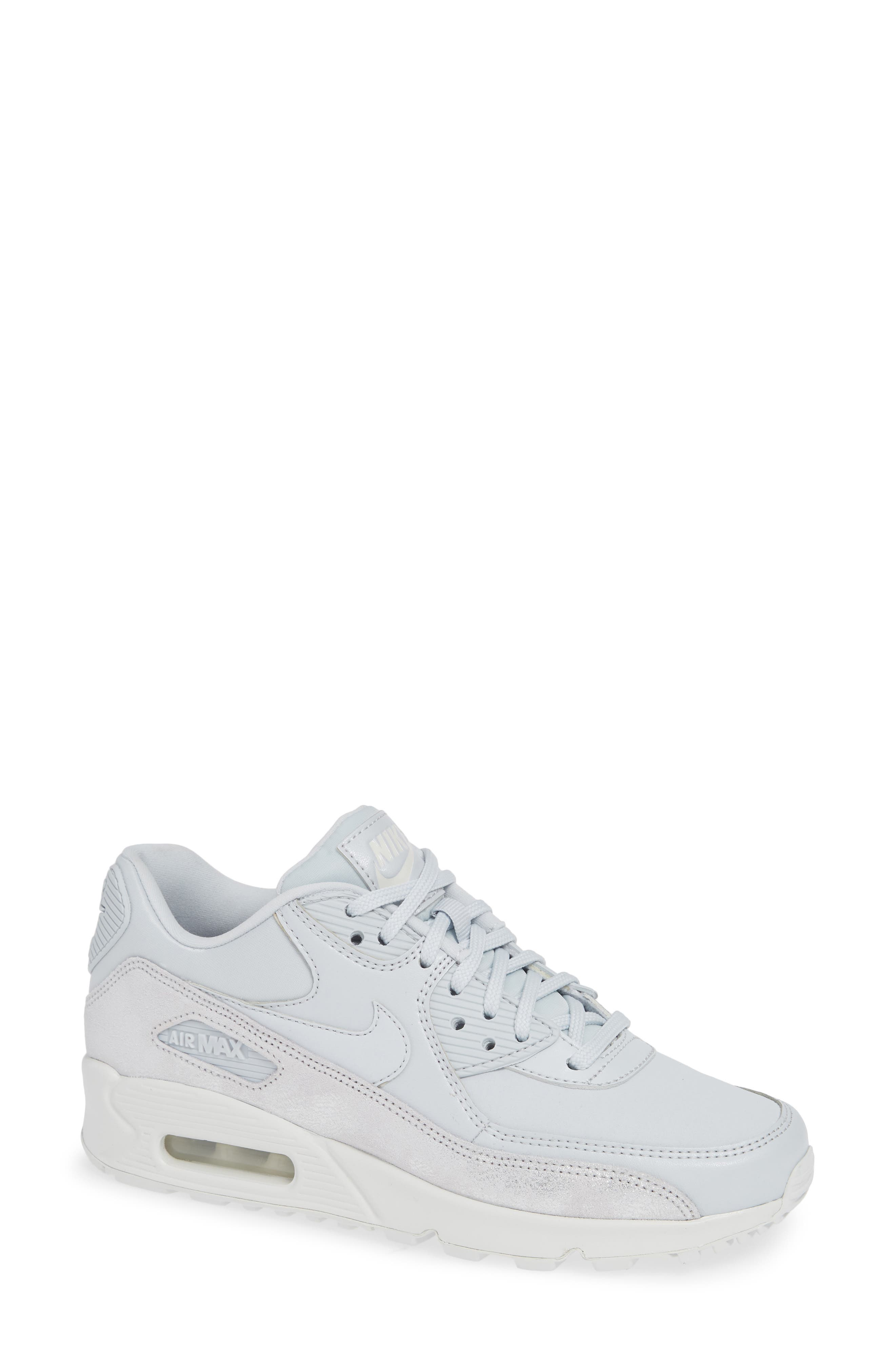 Air Max 90 SE Sneaker,                             Main thumbnail 1, color,                             PURE PLATINUM/ PLATINUM- WHITE