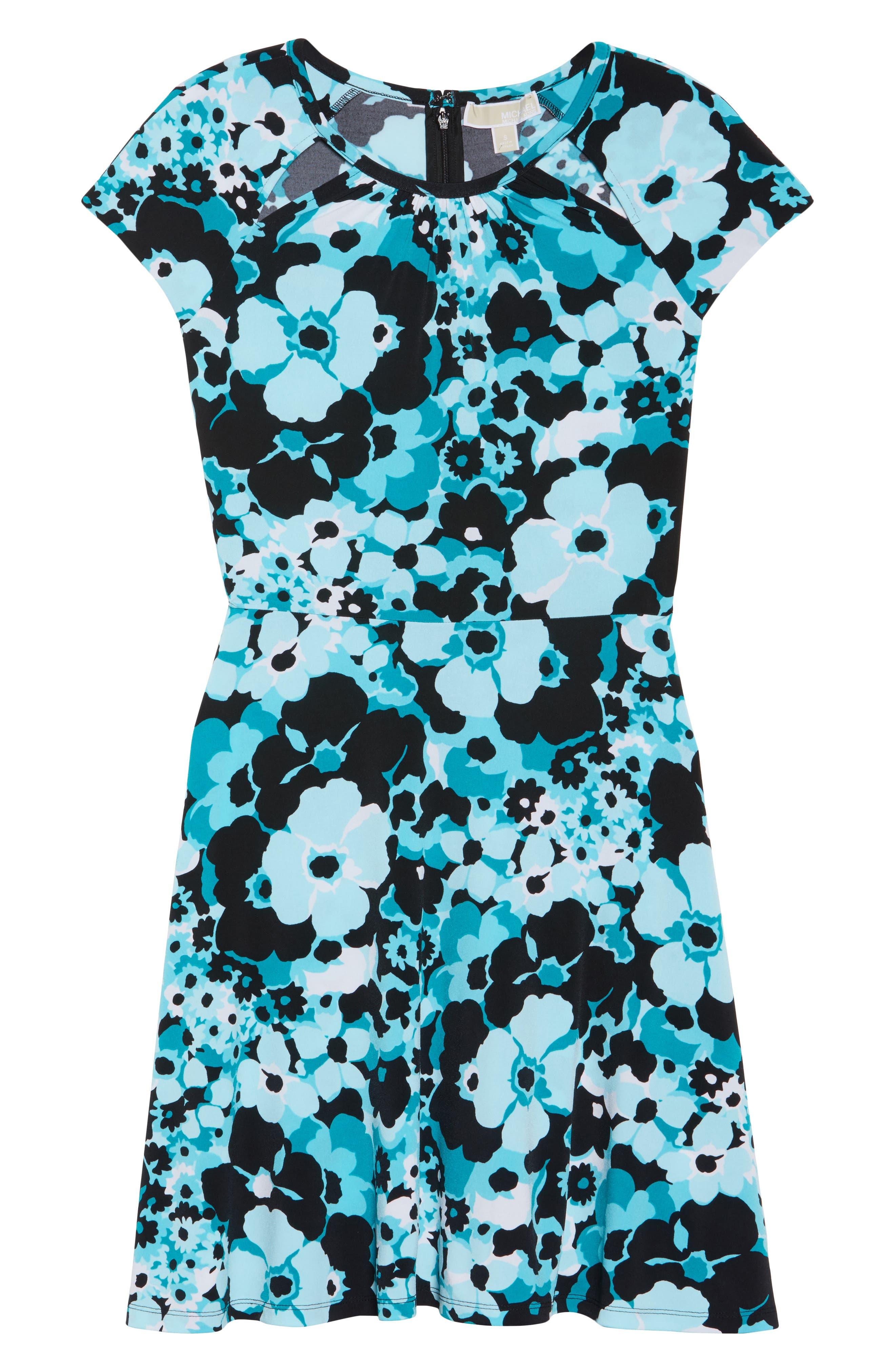 Springtime Floral Cutout Dress,                             Alternate thumbnail 6, color,                             494