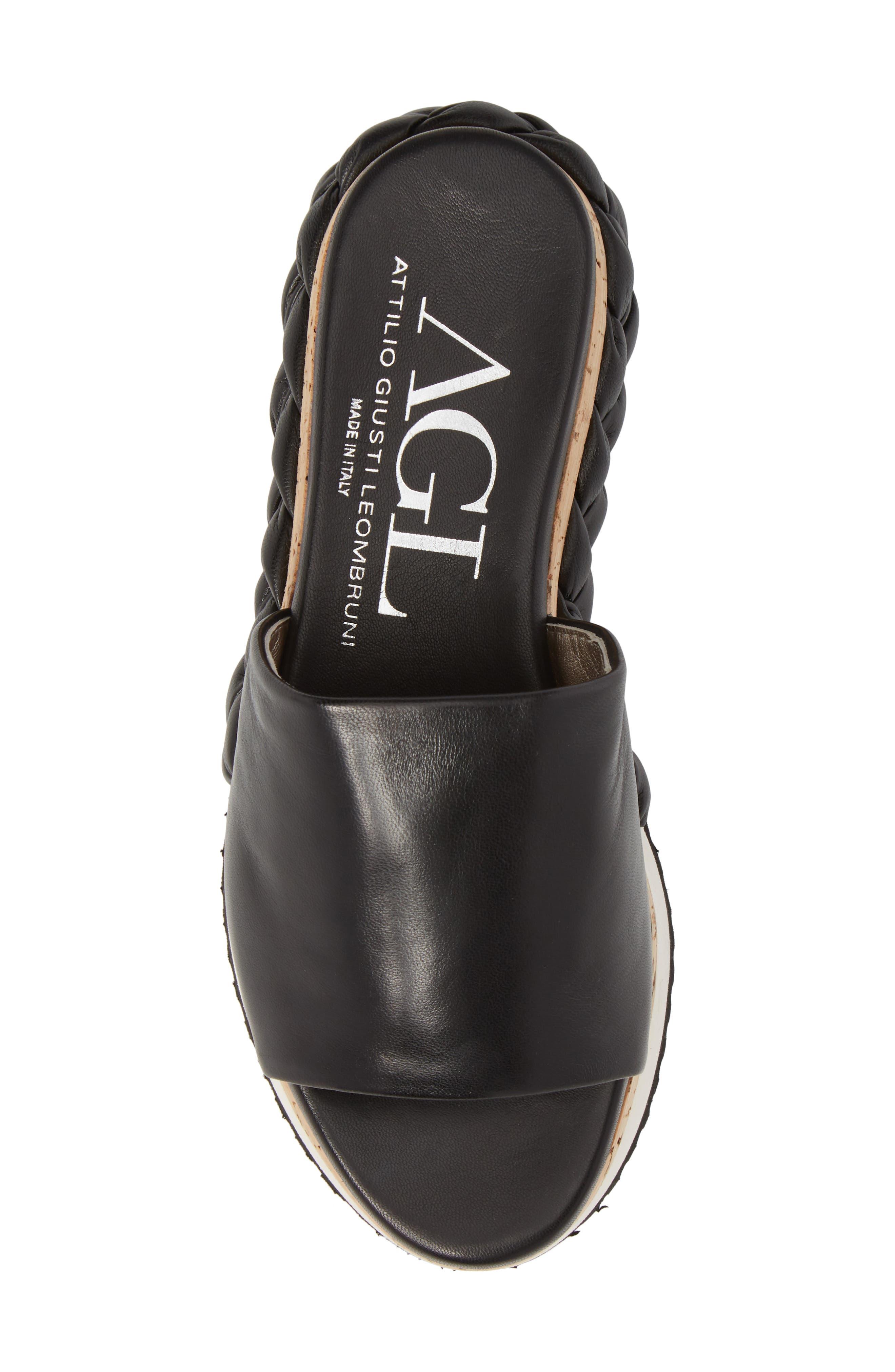 Braided Flatform Slide Sandal,                             Alternate thumbnail 5, color,                             001