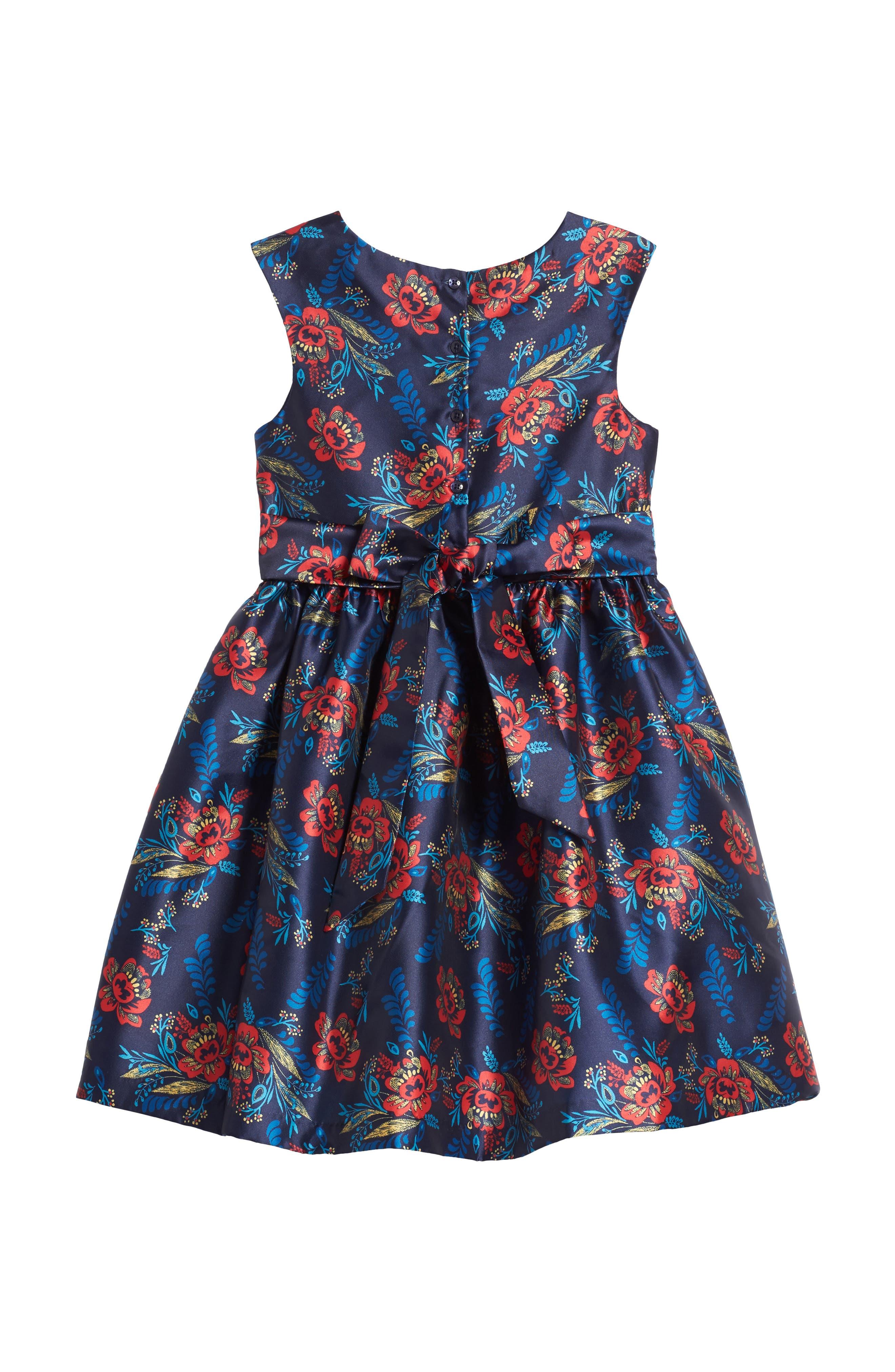 Floral Print Shantung Dress,                             Alternate thumbnail 2, color,                             415