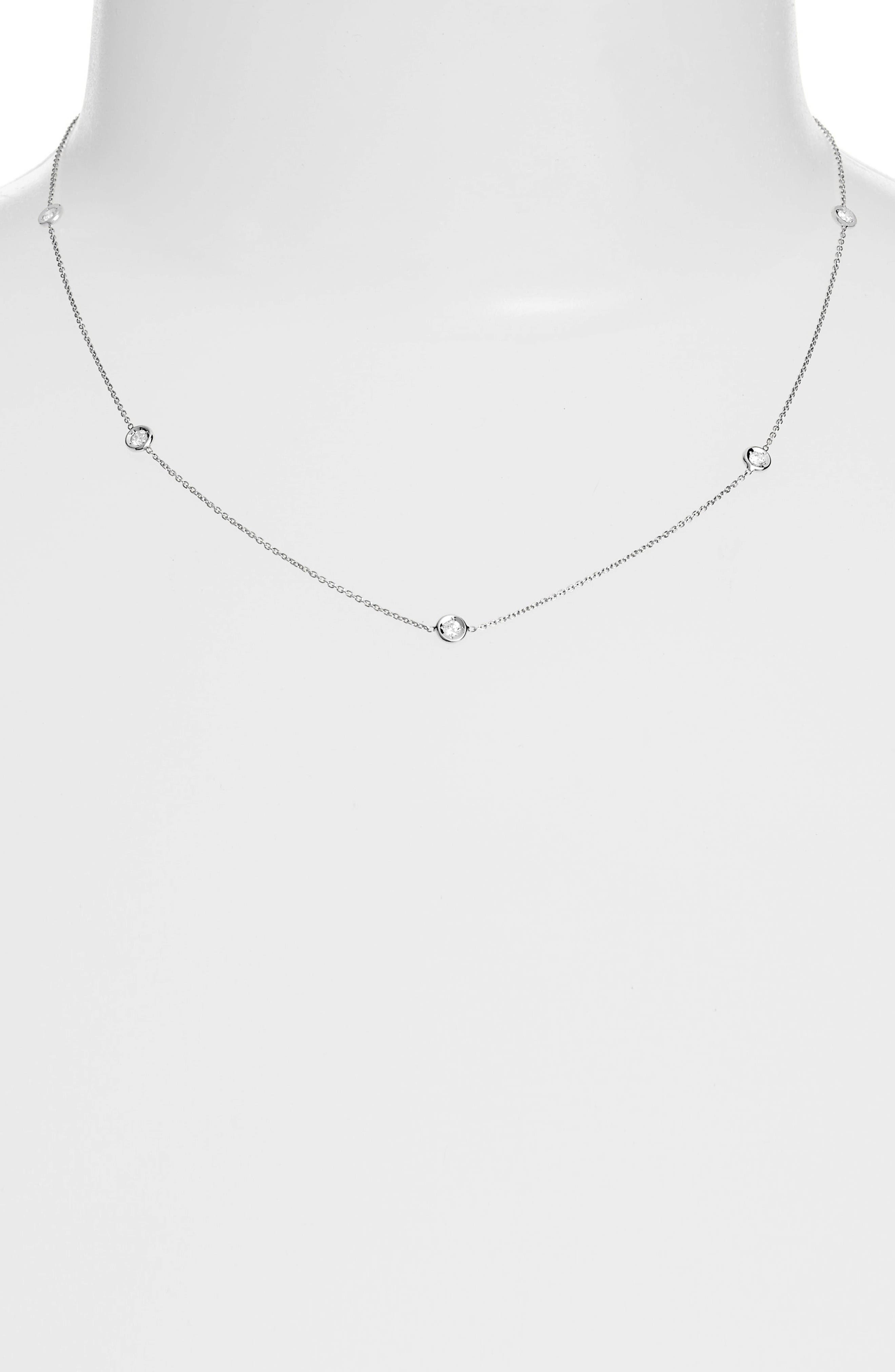 Diamond Station Necklace,                         Main,                         color, D0.23 GHSI 18KWG