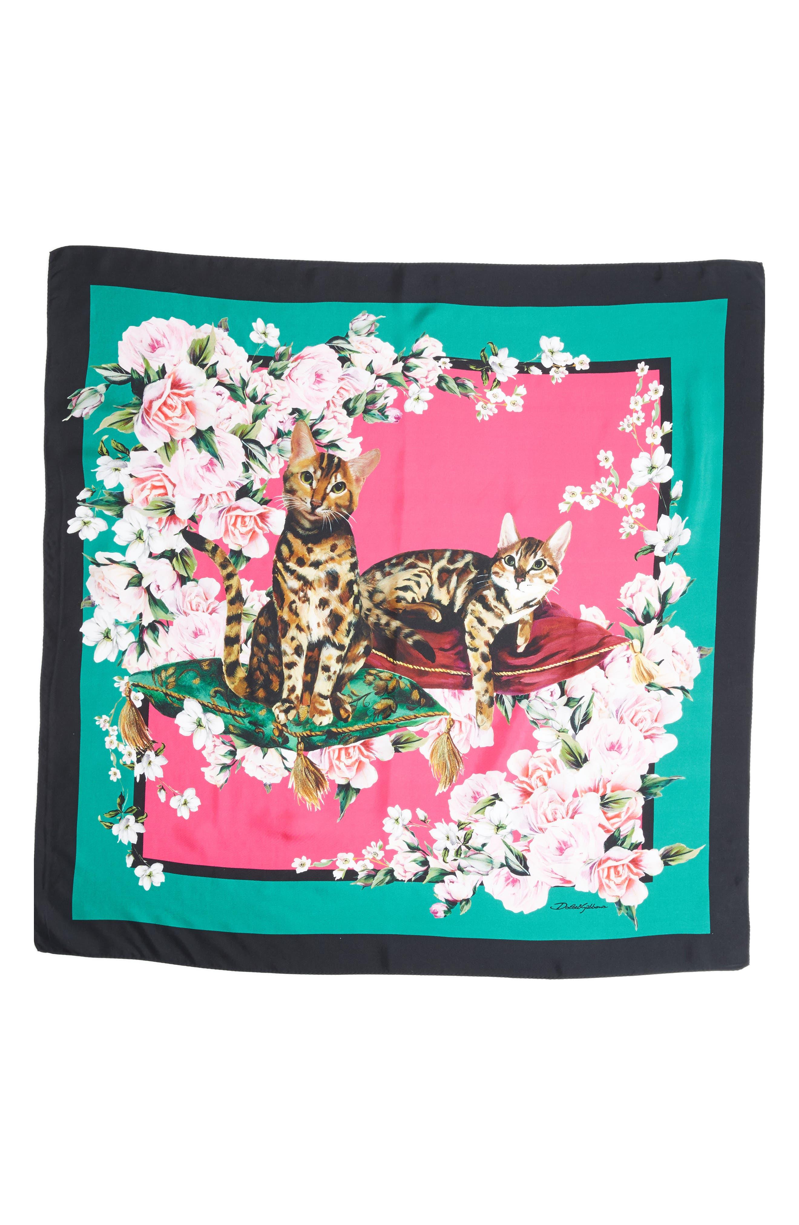 DOLCE&GABBANA Floral Cat Print Silk Scarf, Main, color, 660