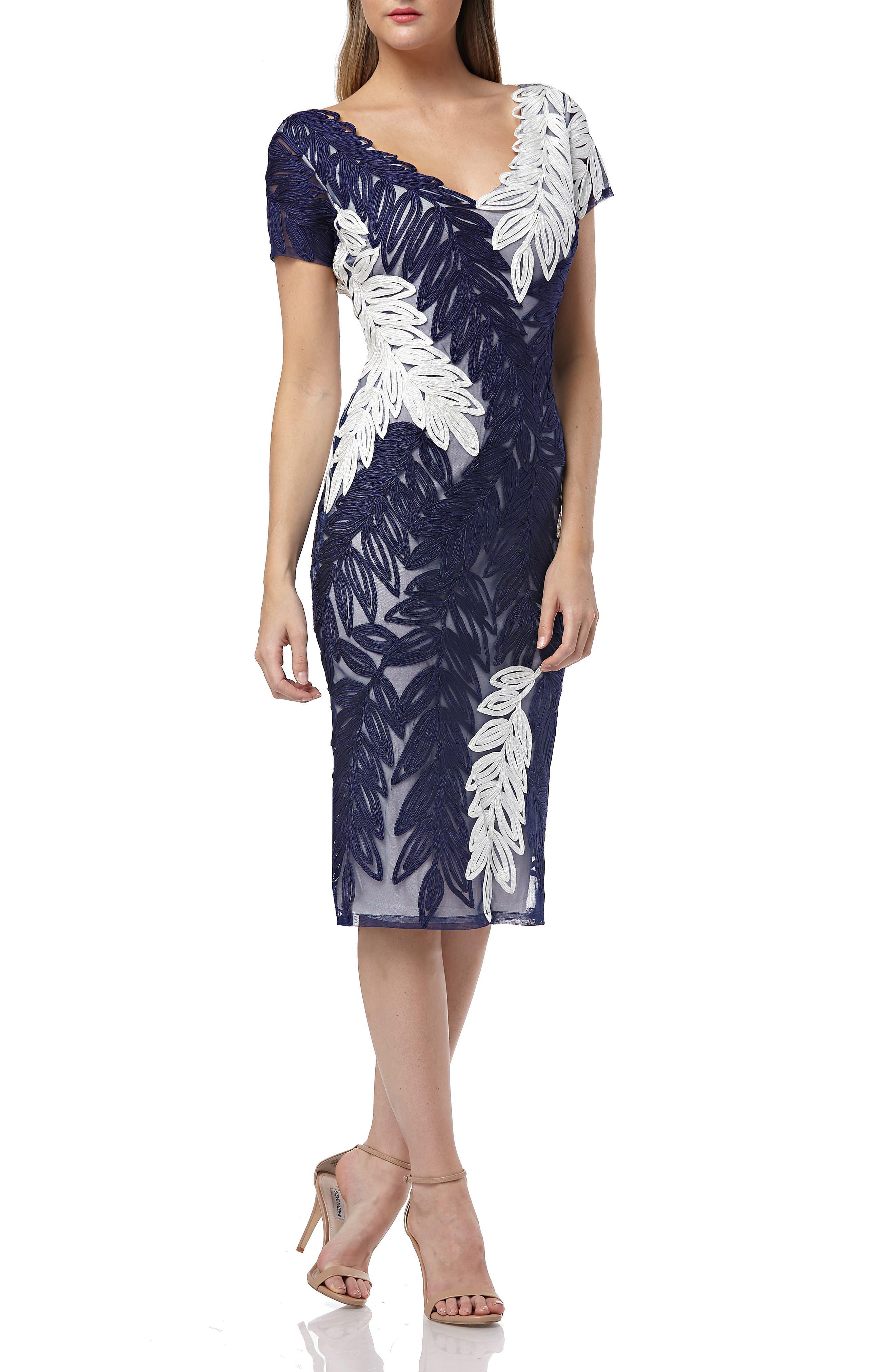 Js Collections Leaf Soutache V-Neck Sheath Dress, Blue