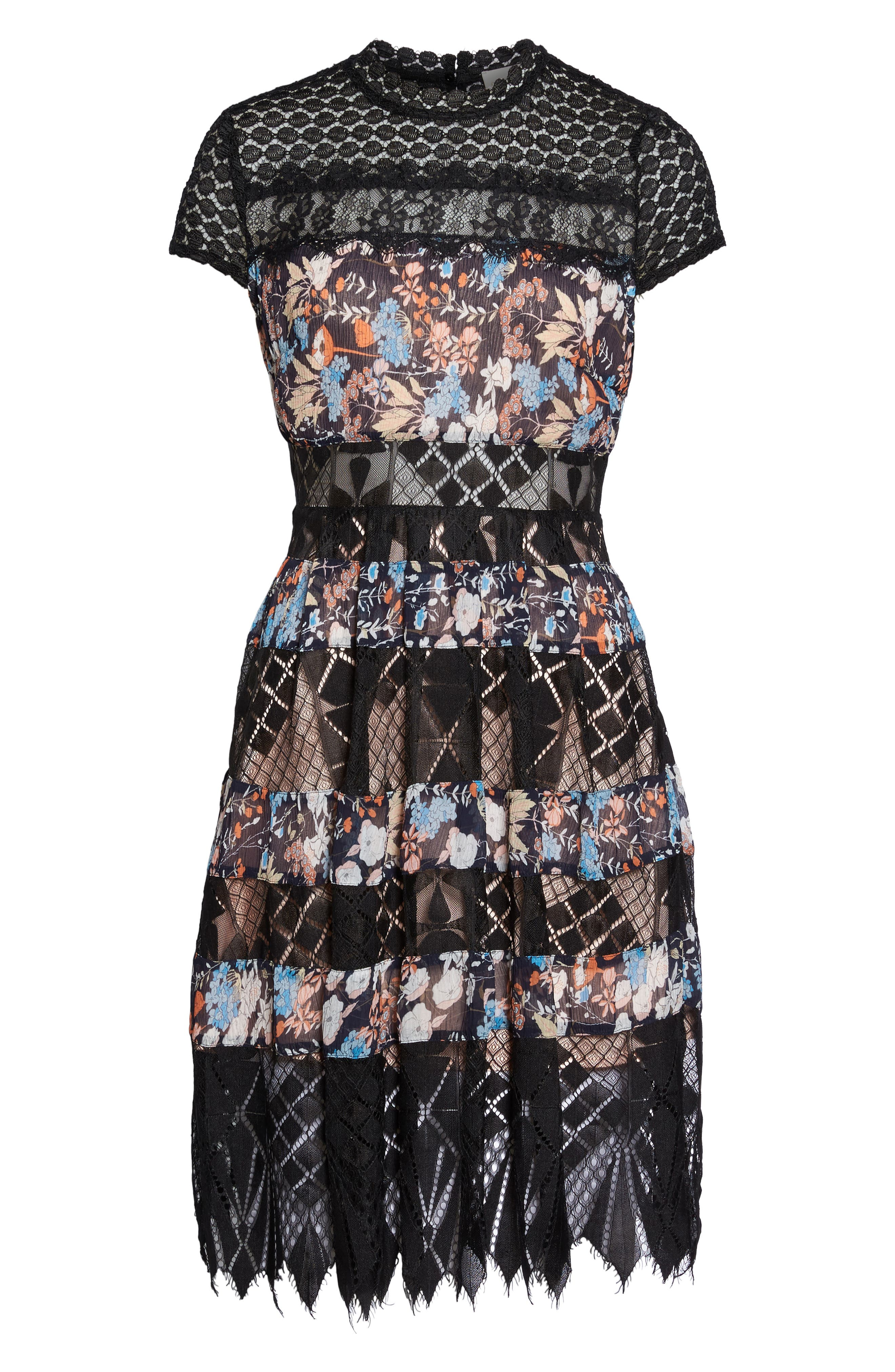 Adriana Lace Panel Dress,                             Alternate thumbnail 6, color,                             400