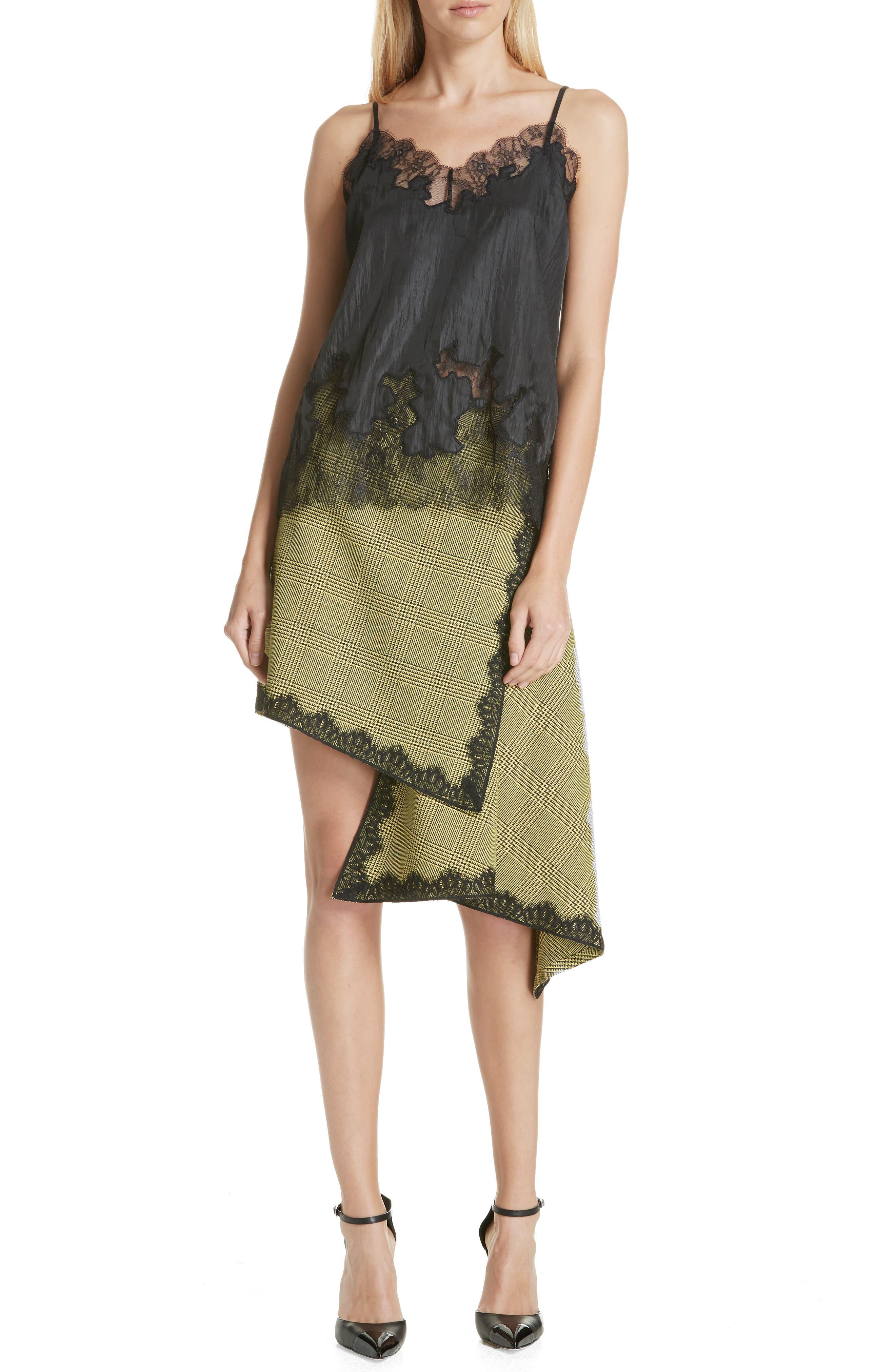 Lace Trim Plaid Skirt,                             Alternate thumbnail 7, color,                             BLACK/ YELLOW