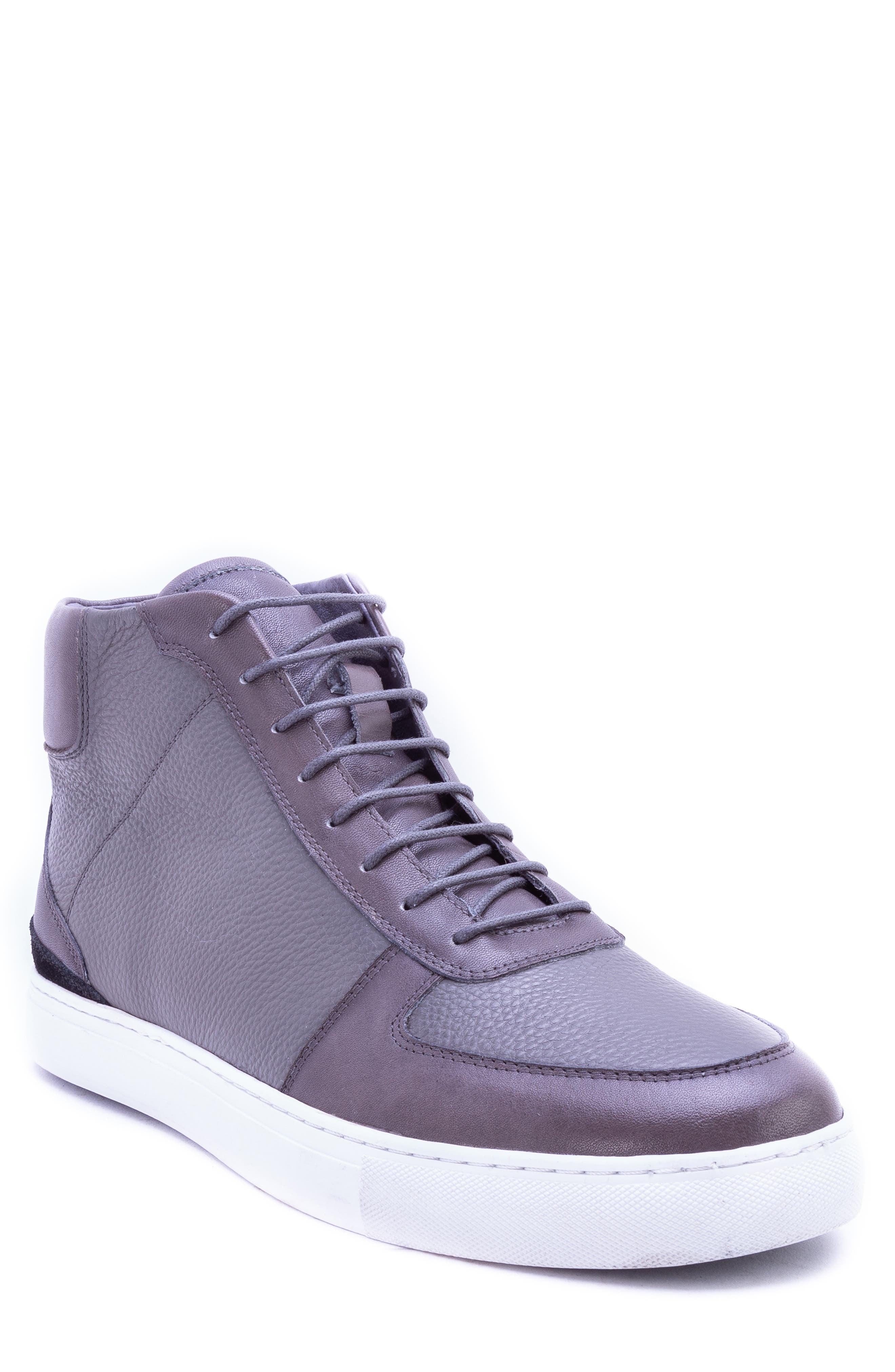 Tassel High Top Sneaker,                             Main thumbnail 1, color,                             GREY LEATHER