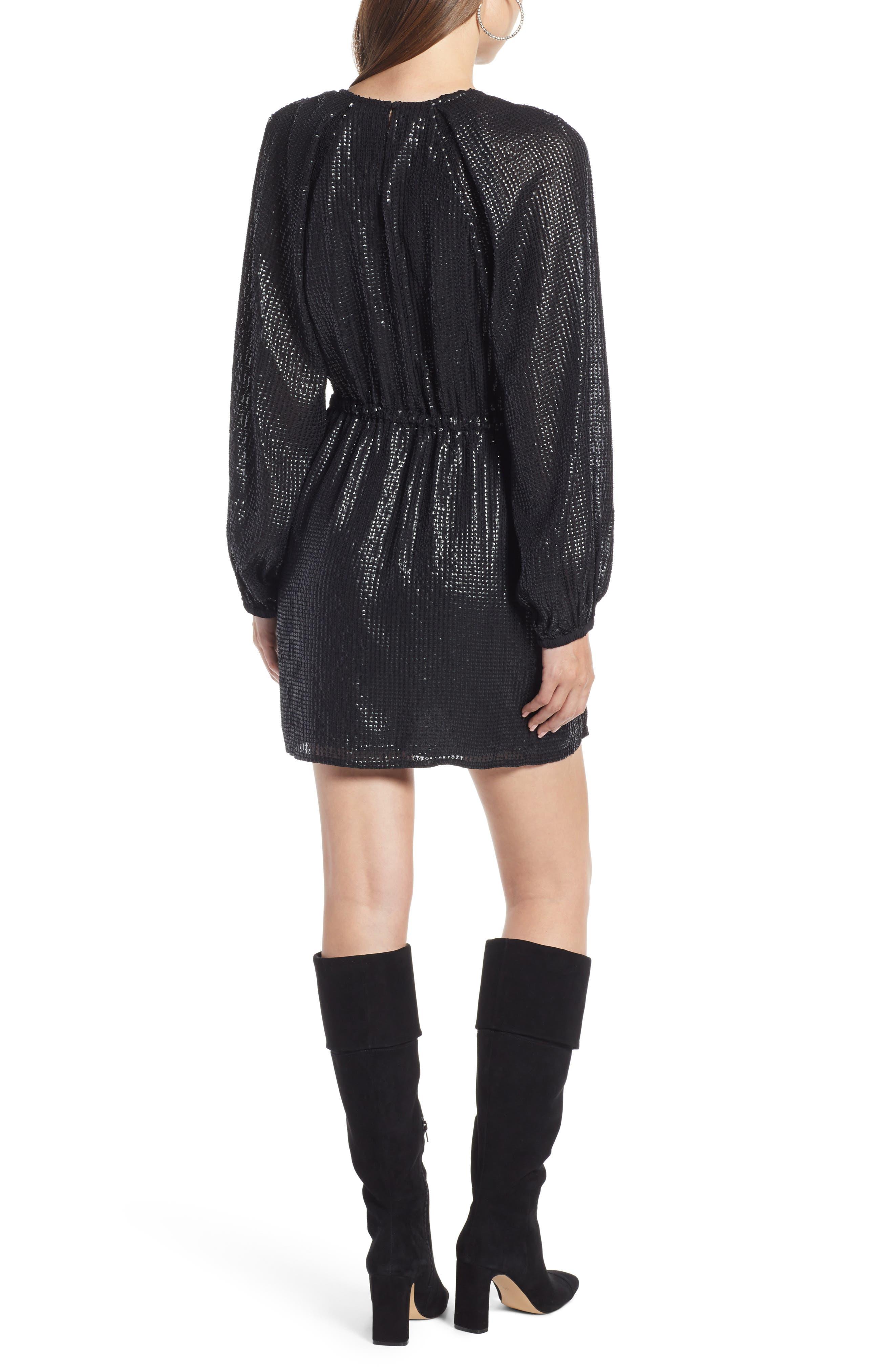 Sequin Raglan Minidress,                             Alternate thumbnail 3, color,                             BLACK