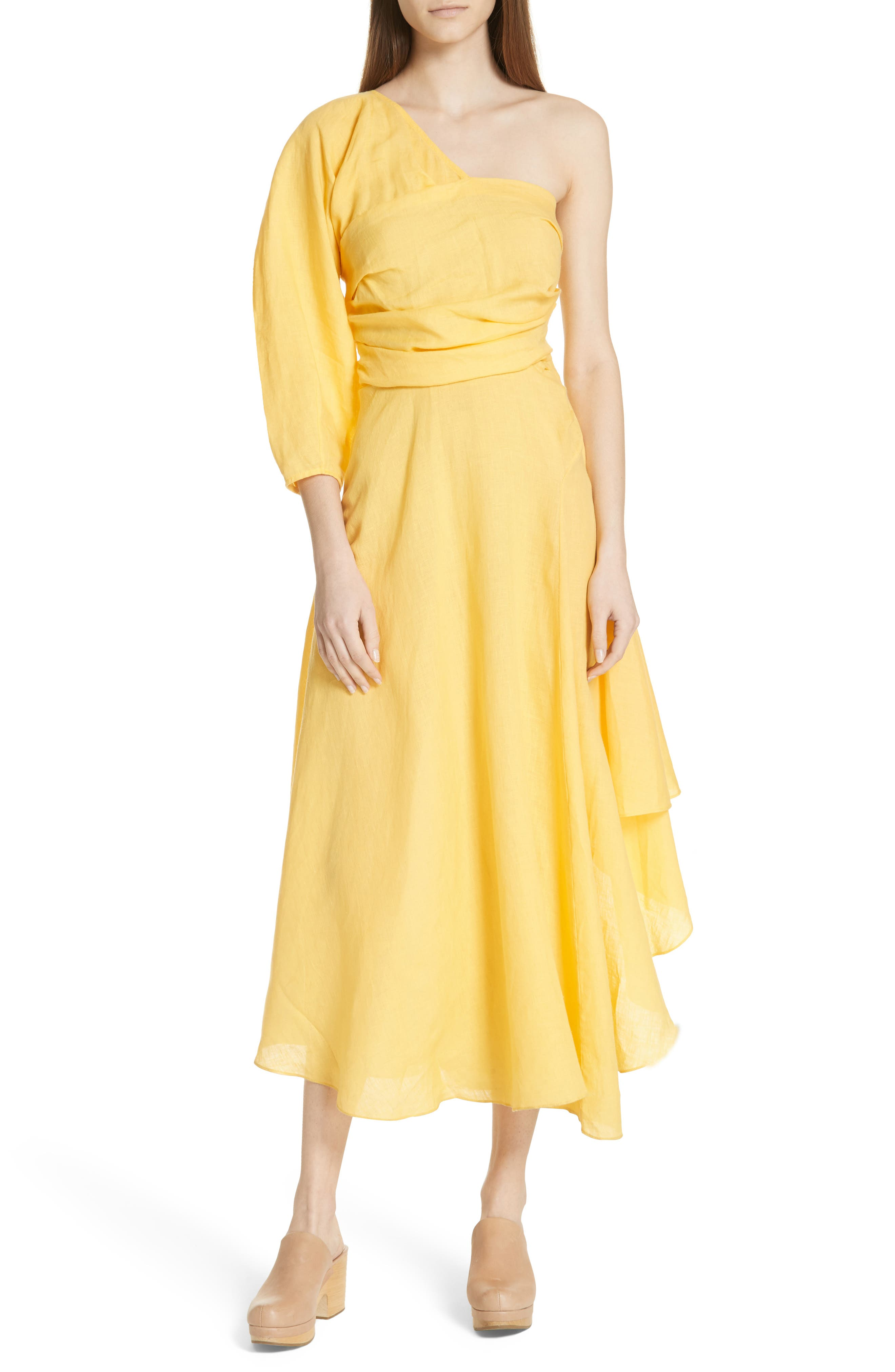 Tipple One-Shoulder Dress,                         Main,                         color, YELLOW