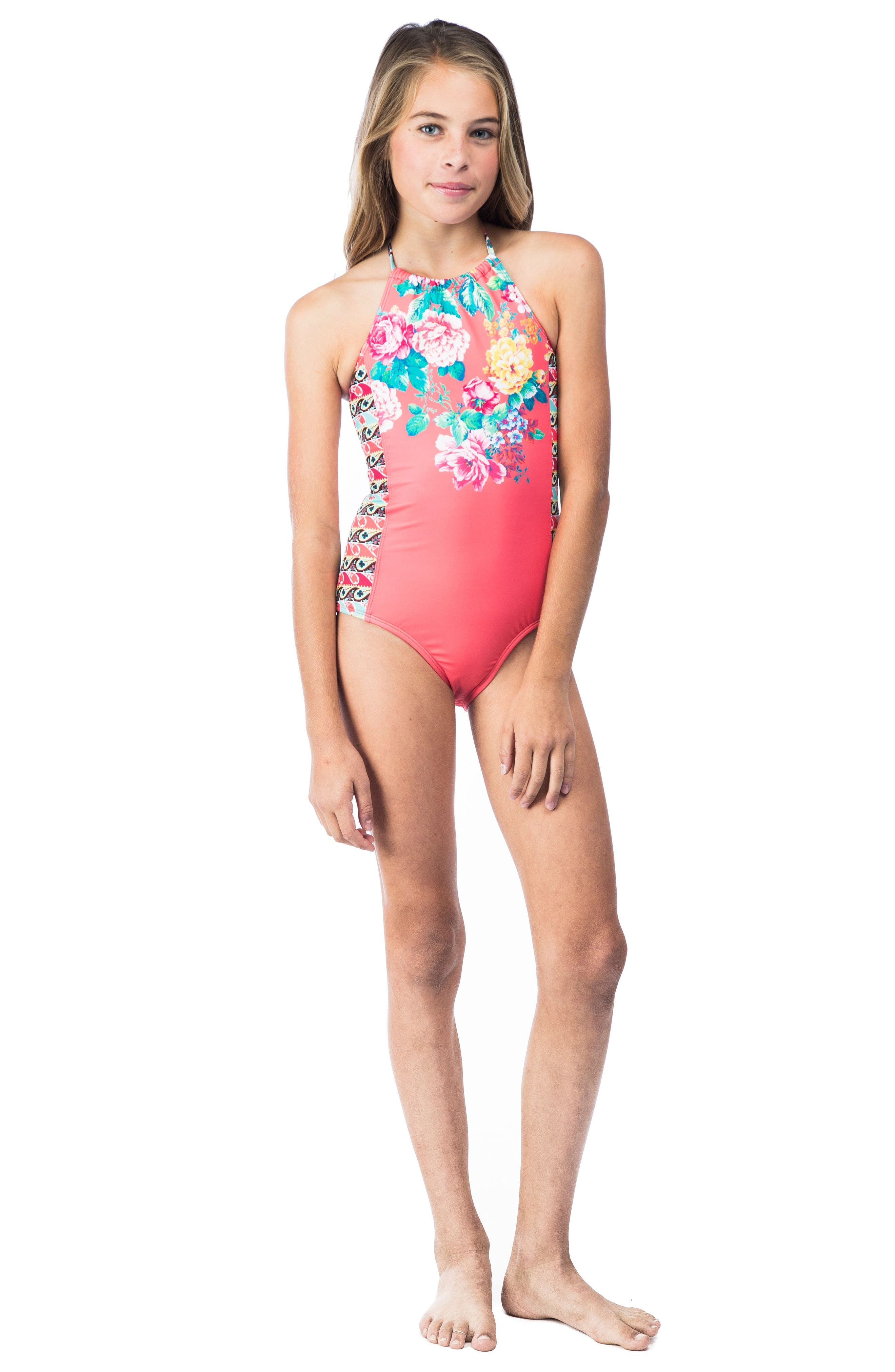 HOBIE,                             Petal Pusher One-Piece Swimsuit,                             Alternate thumbnail 2, color,                             830