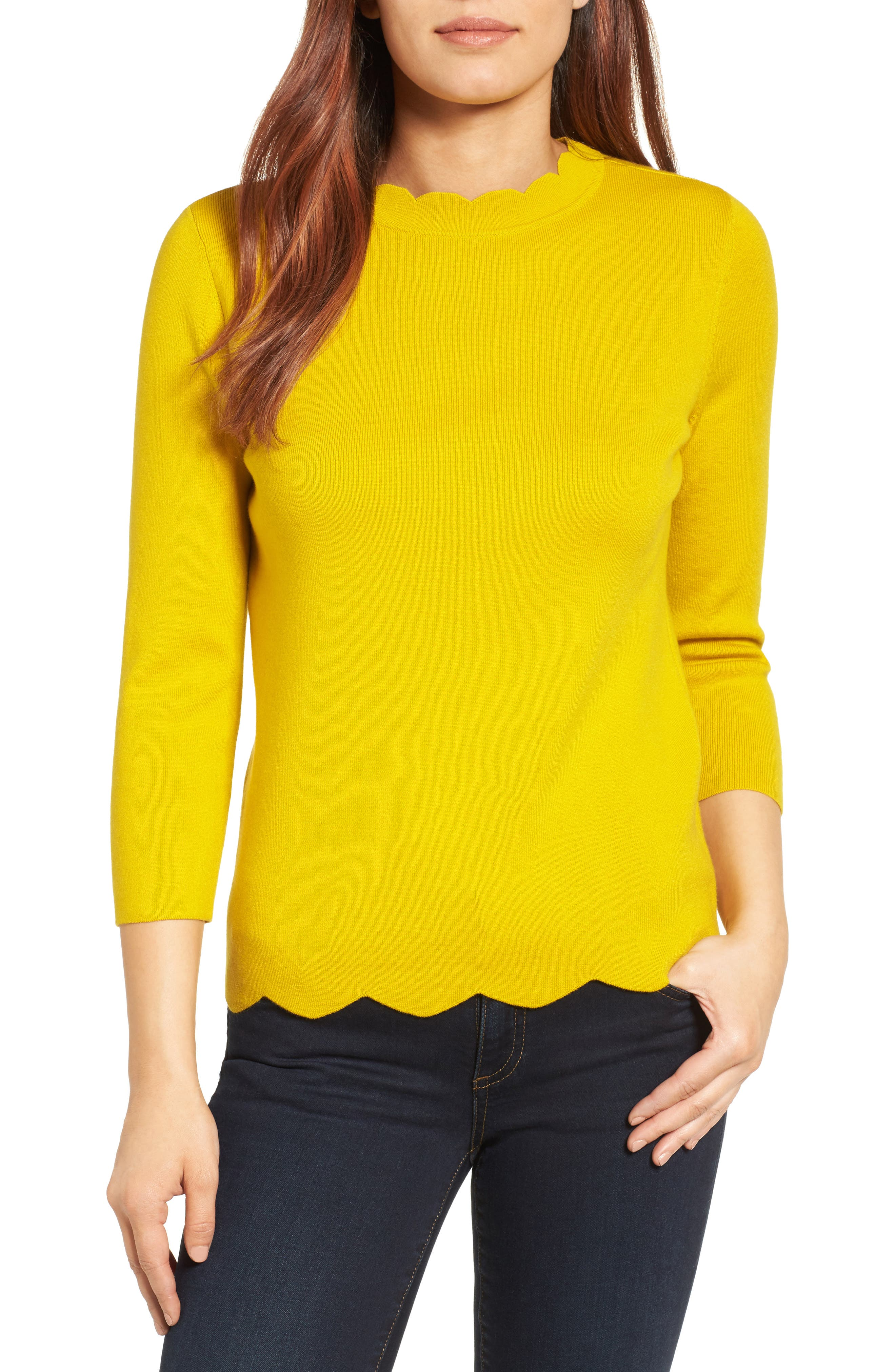 Halogen Scallop Edge Sweater,                             Main thumbnail 10, color,