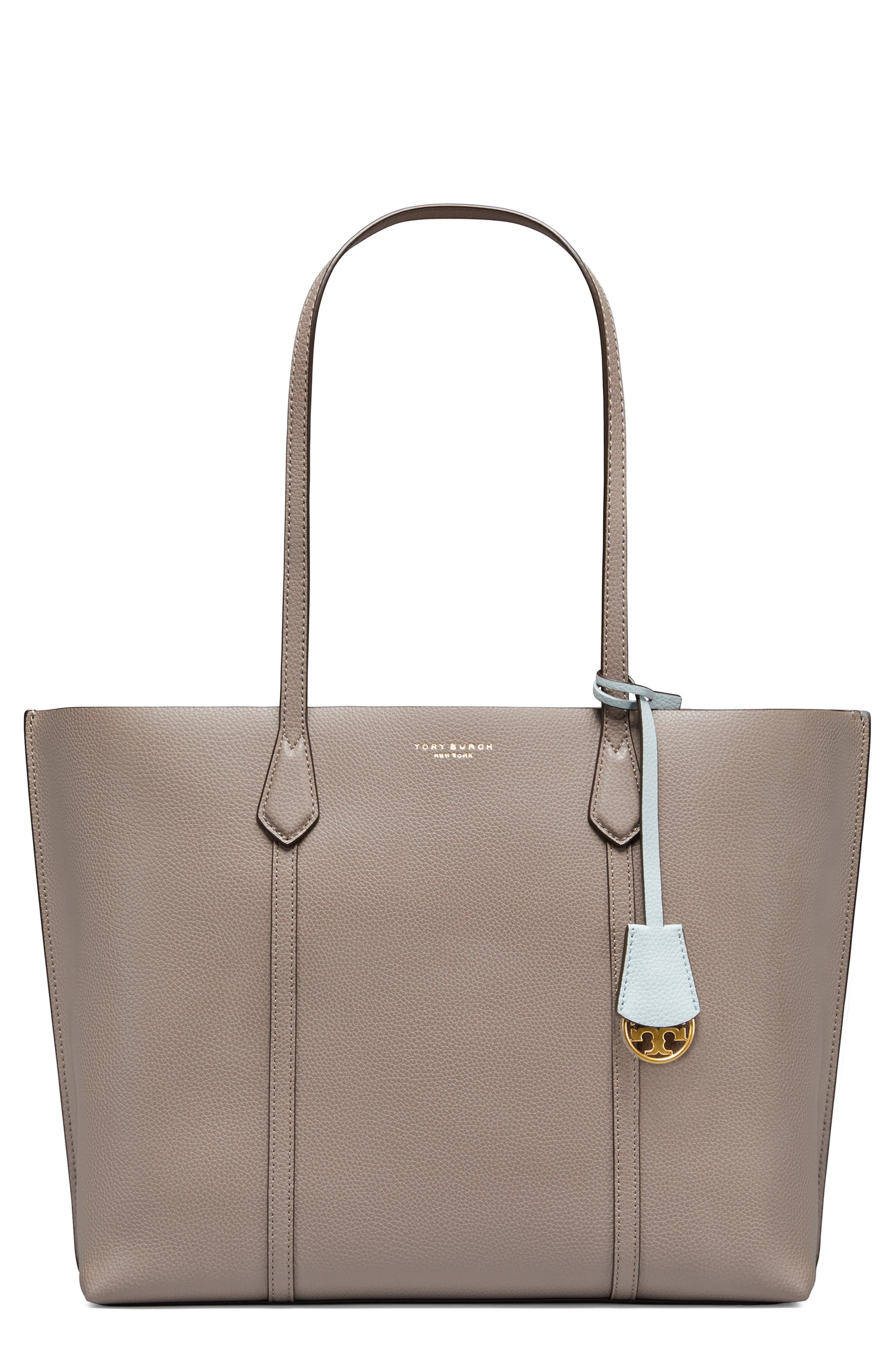 Perry Leather Tote - Grey in Gray Heron