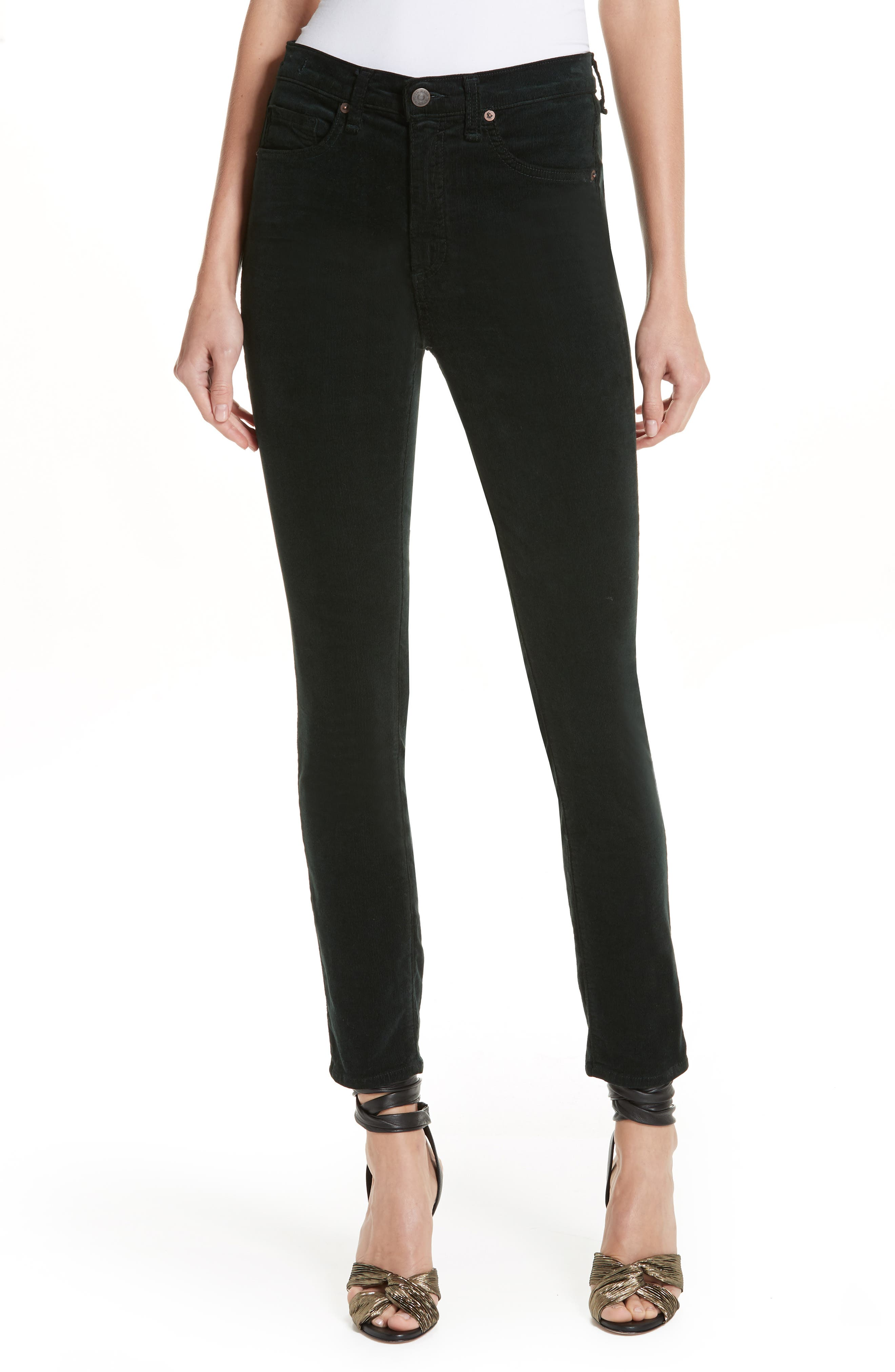 Kate Corduroy Skinny Jeans in Forest Green