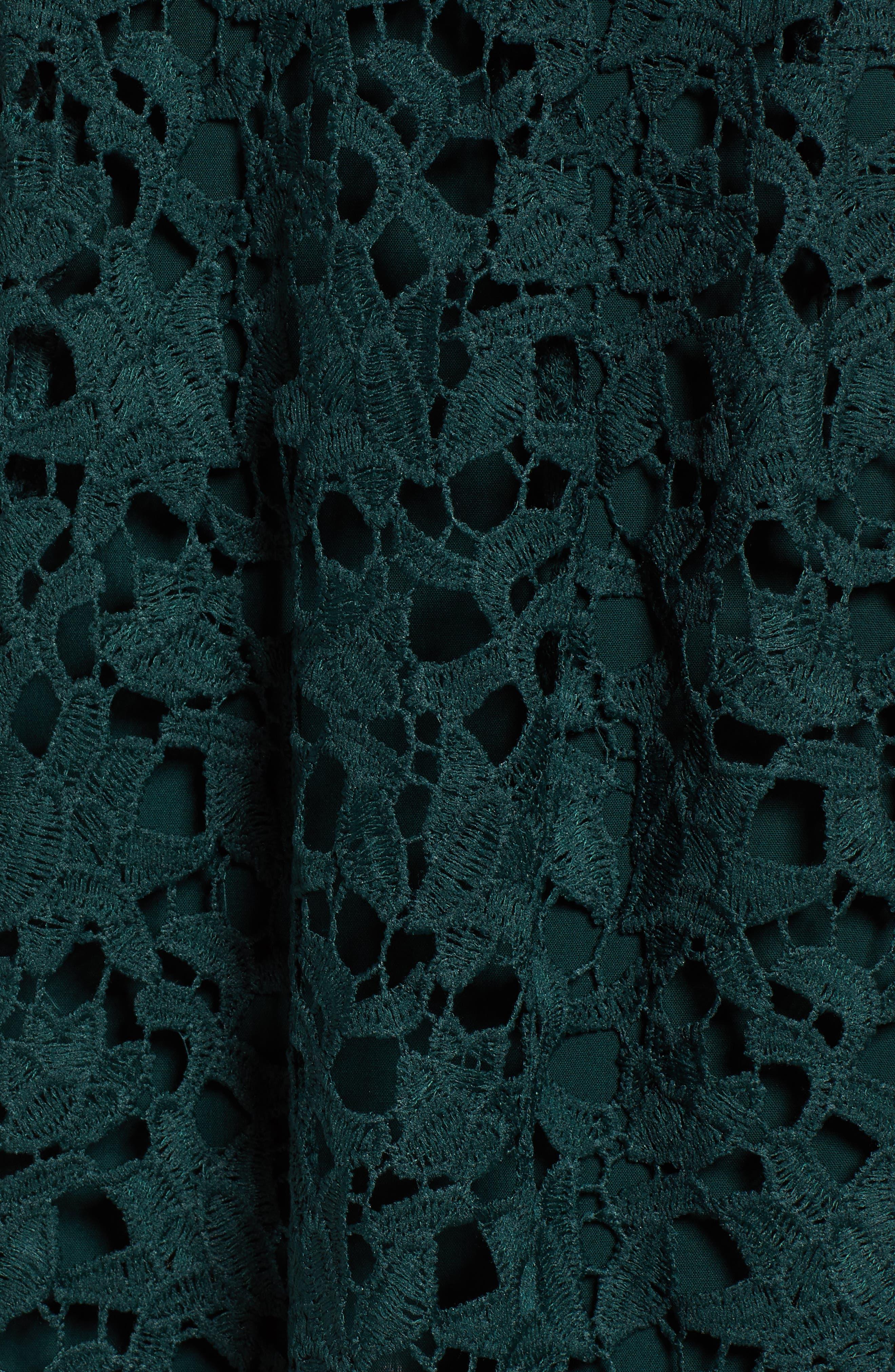 Lace Midi Dress,                             Alternate thumbnail 6, color,                             JADE GREEN