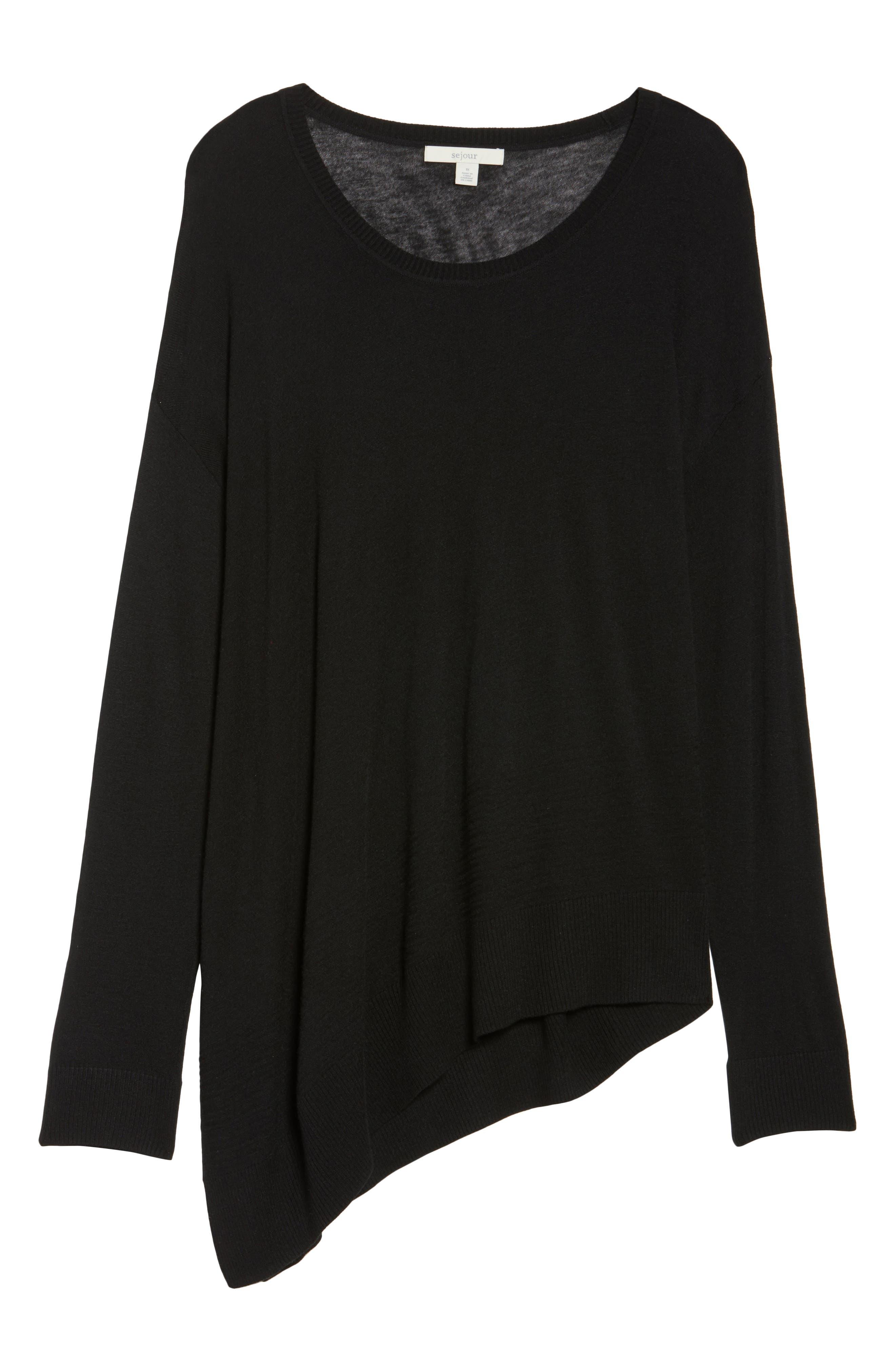 Asymmetrical Hem Sweater,                             Alternate thumbnail 6, color,                             001