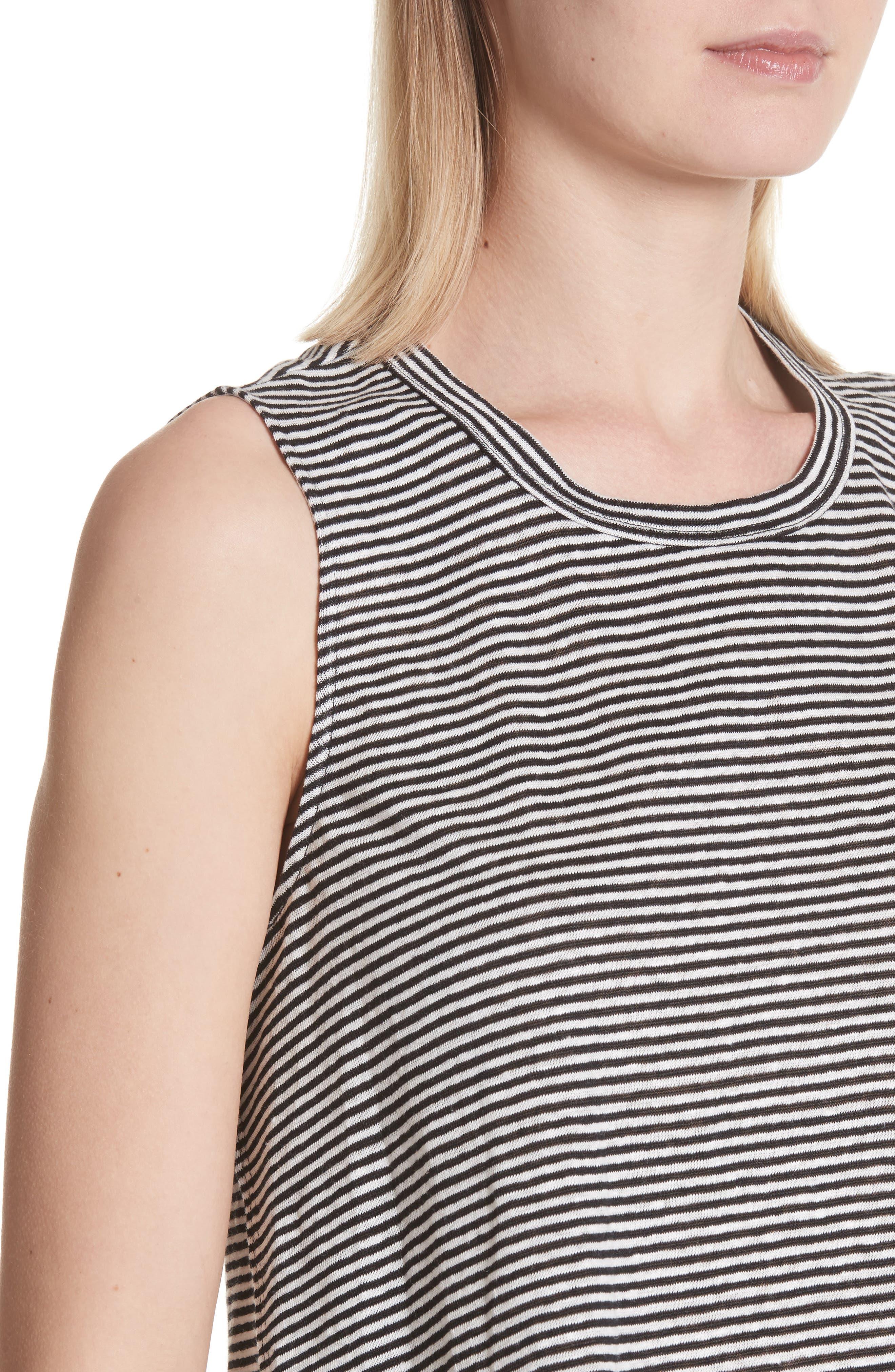 Ines Stripe Linen Crop Tee,                             Alternate thumbnail 4, color,                             BLACK/ WHITE