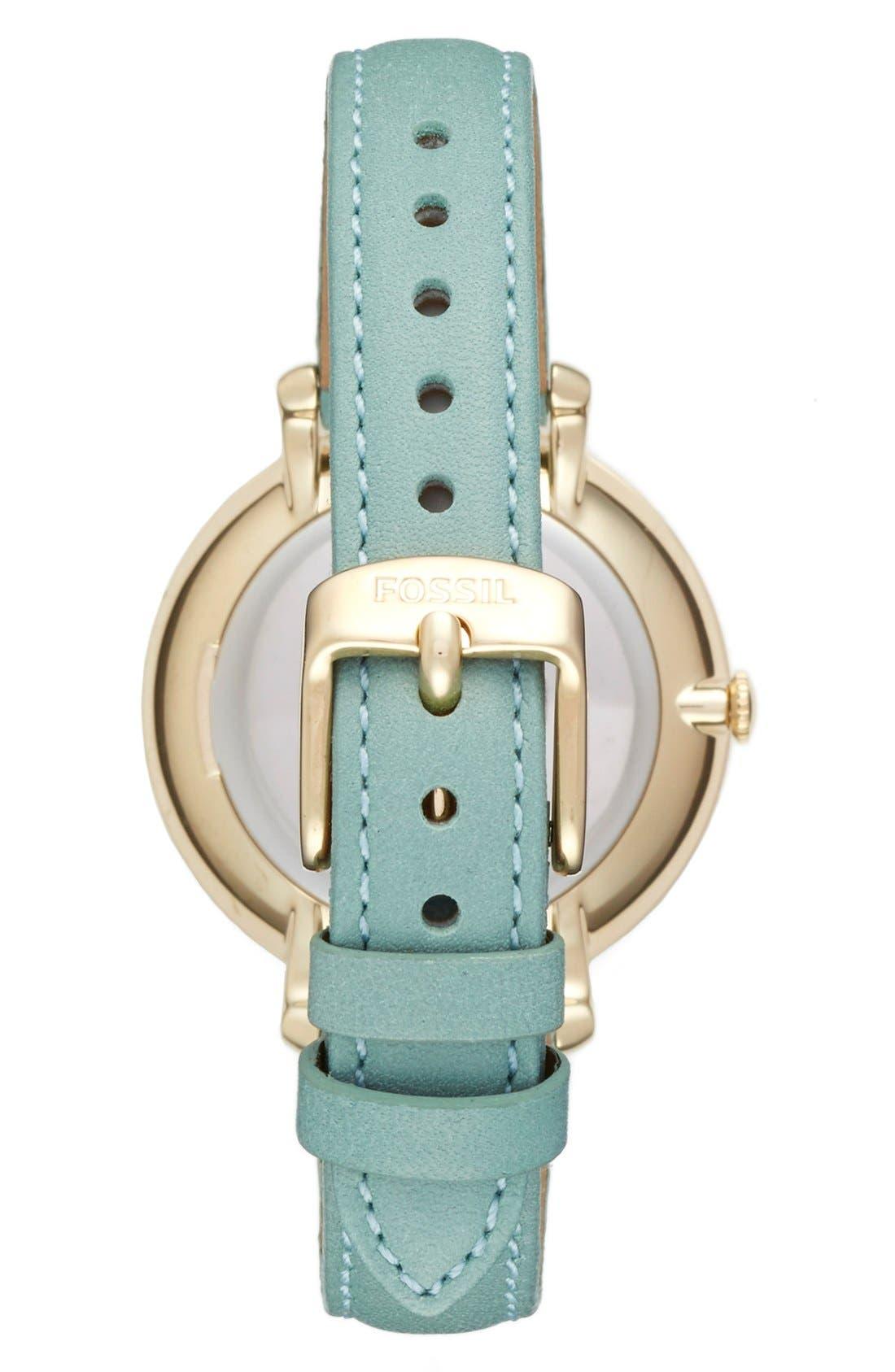 'Jacqueline' Leather Strap Watch, 36mm,                             Alternate thumbnail 3, color,                             301