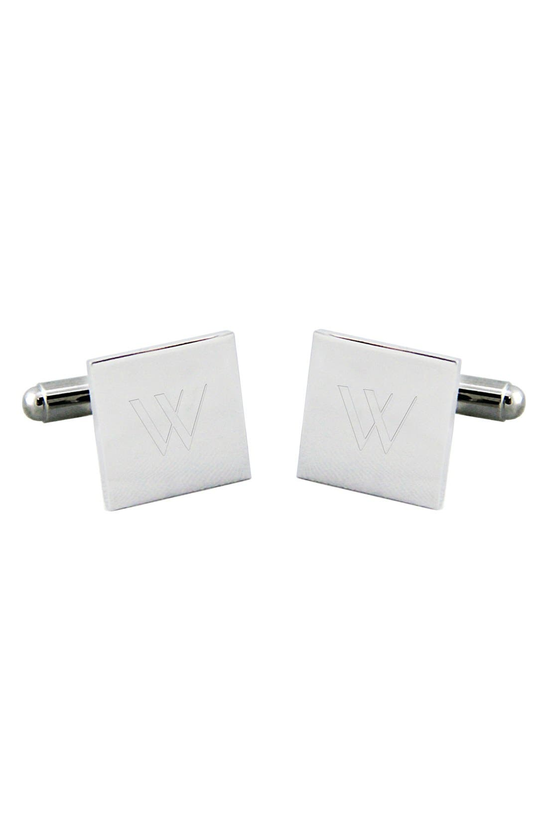 Monogram Square Cuff Links,                             Alternate thumbnail 3, color,                             W