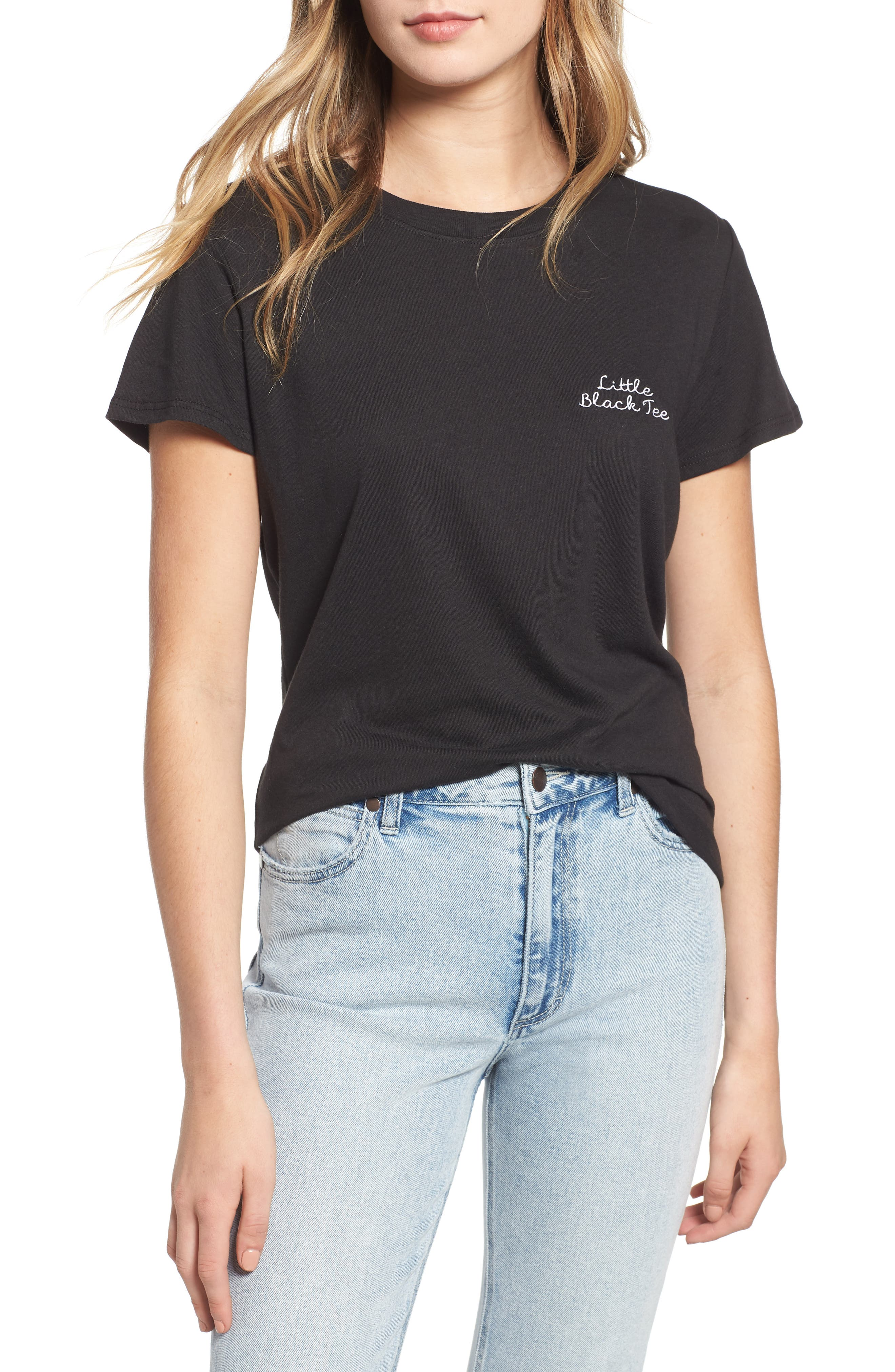 Little Black Tee Slouched Tee,                             Main thumbnail 1, color,                             001