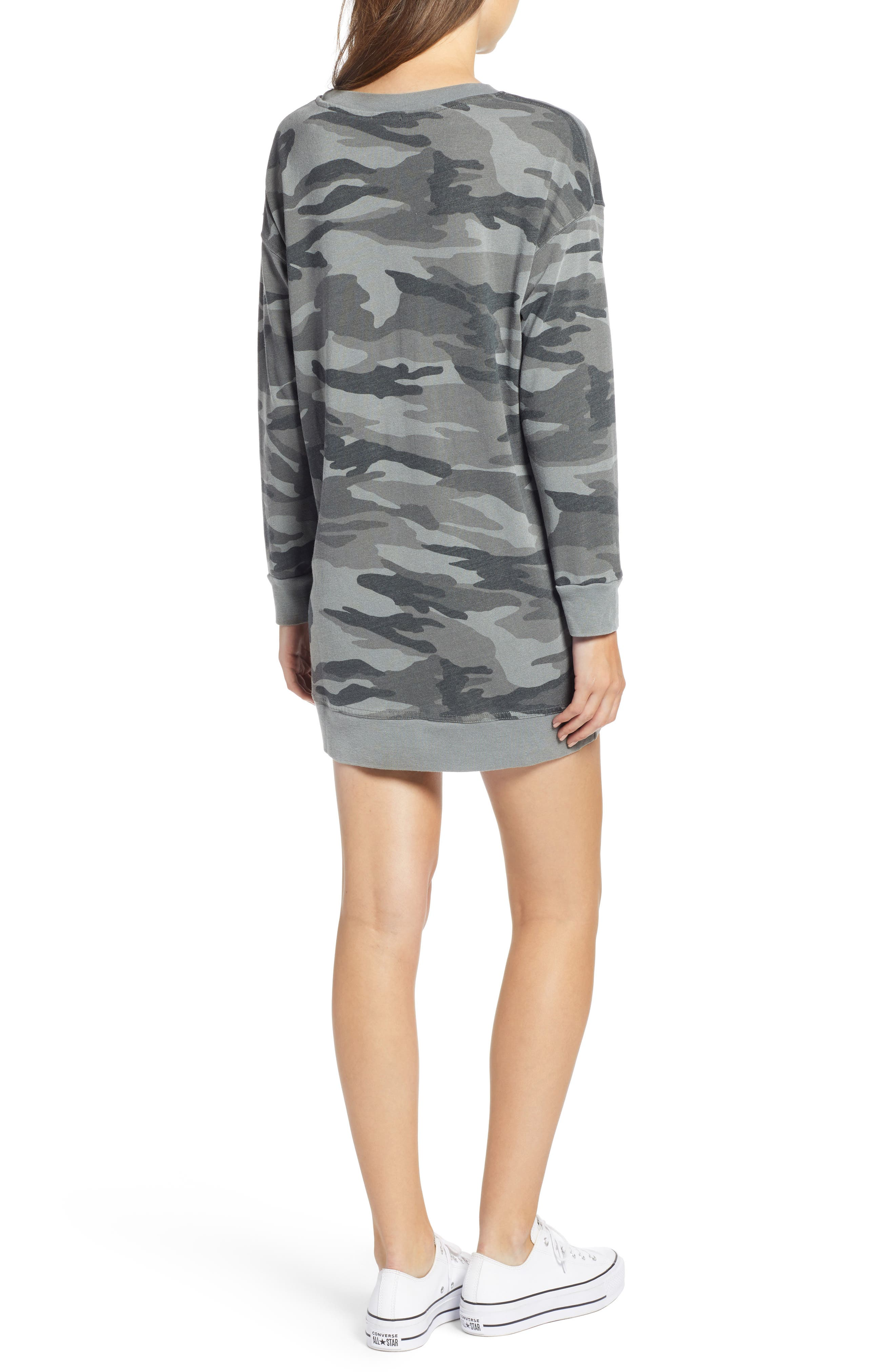 Active Camo Sweatshirt Dress,                             Alternate thumbnail 2, color,                             OLIVE BRANCH
