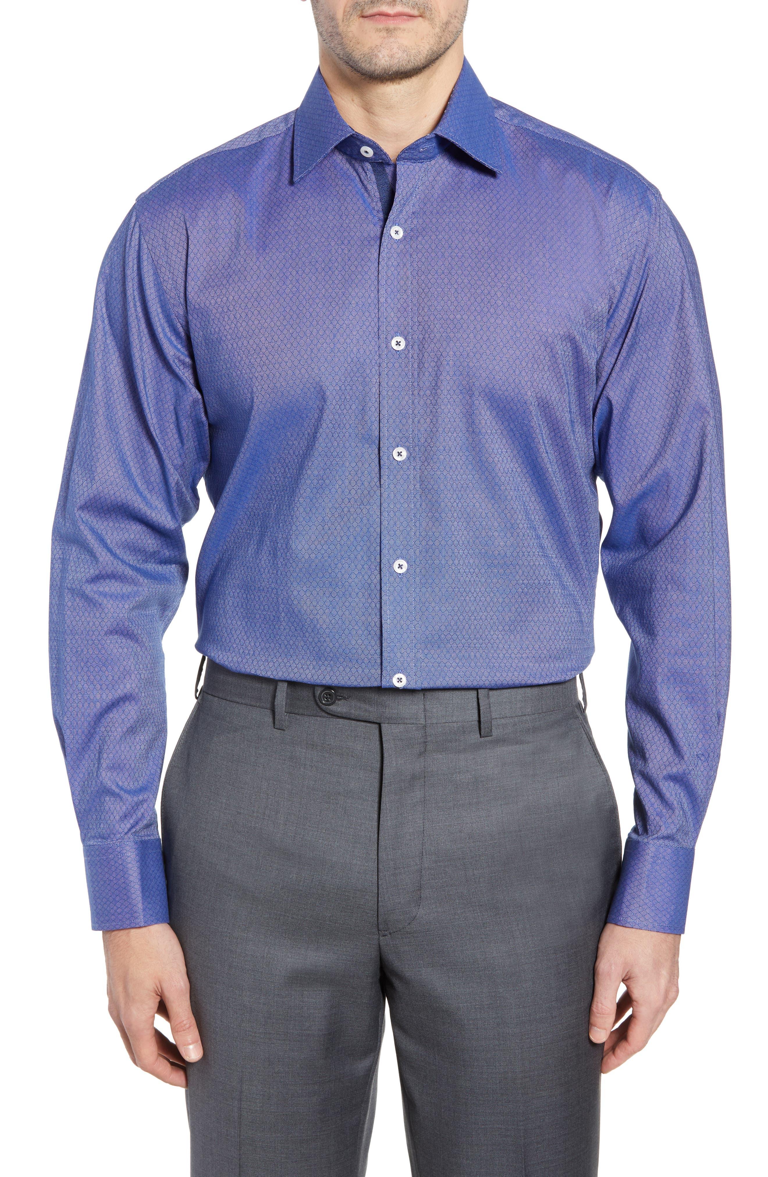 Pattern Regular Fit Dress Shirt,                         Main,                         color, NAVY