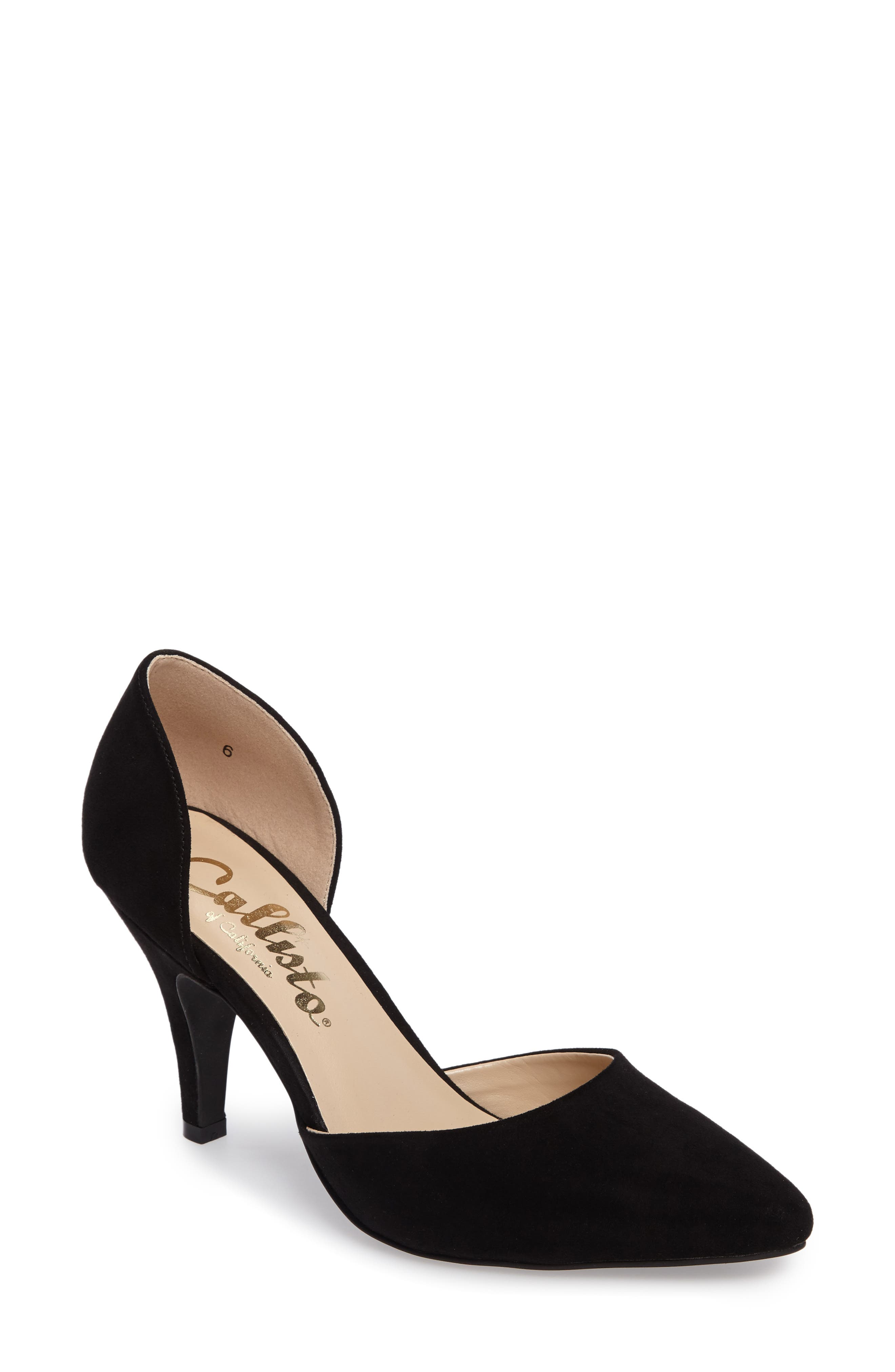 Felicitas d'Orsay Pump,                             Main thumbnail 1, color,                             BLACK SYNTHETIC