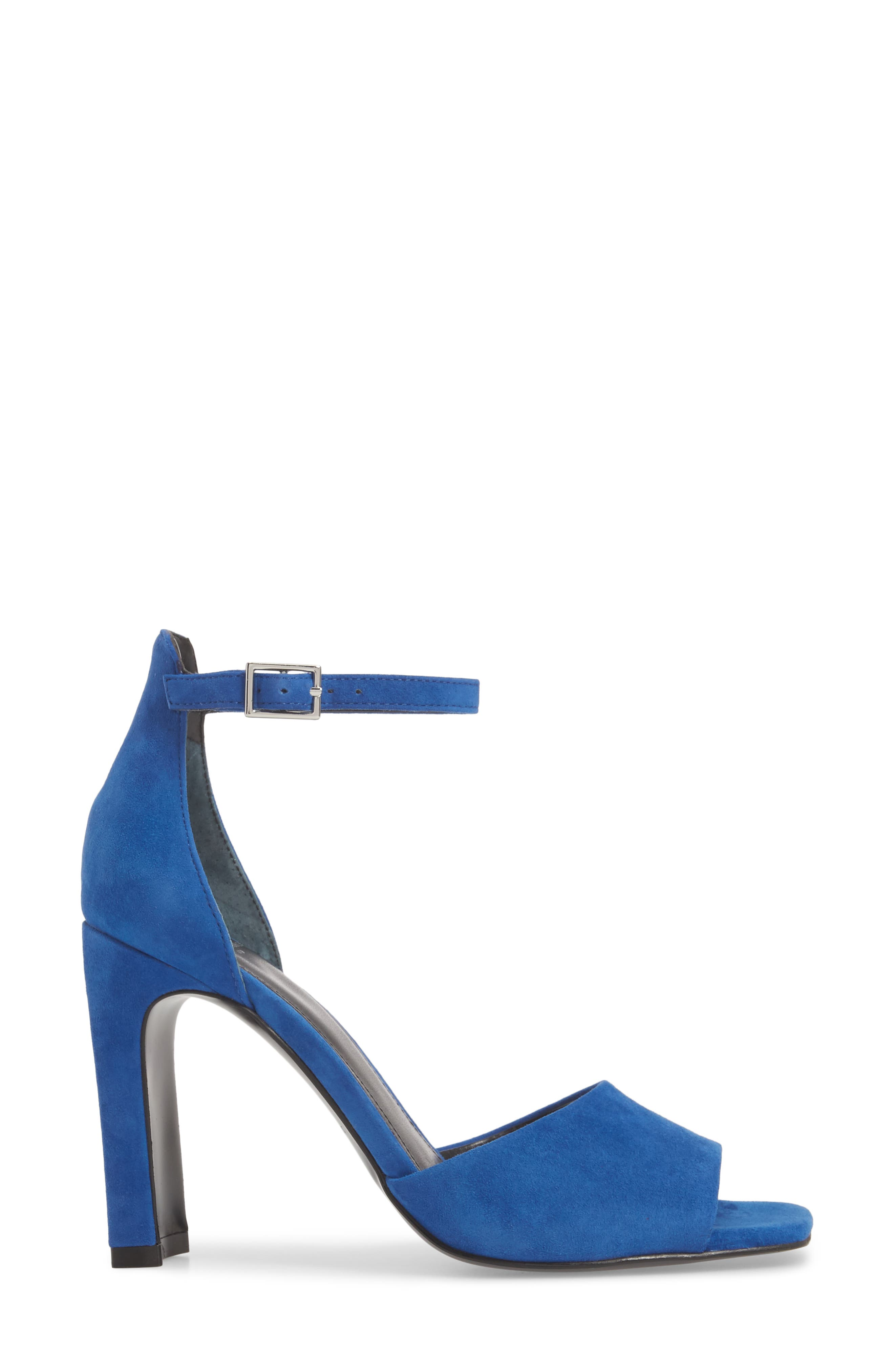 Harlin Ankle Strap Sandal,                             Alternate thumbnail 3, color,                             BLUE SUEDE