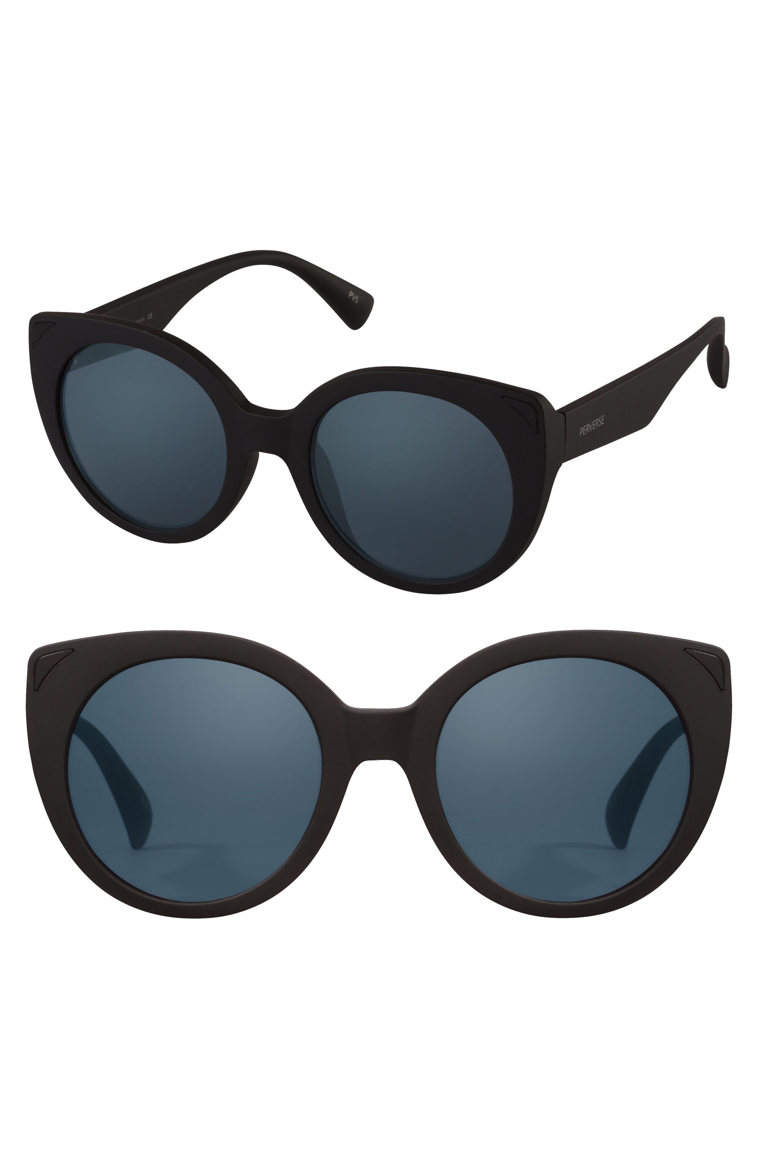 49mm Feline Round Cat Eye Sunglasses,                             Main thumbnail 1, color,                             001