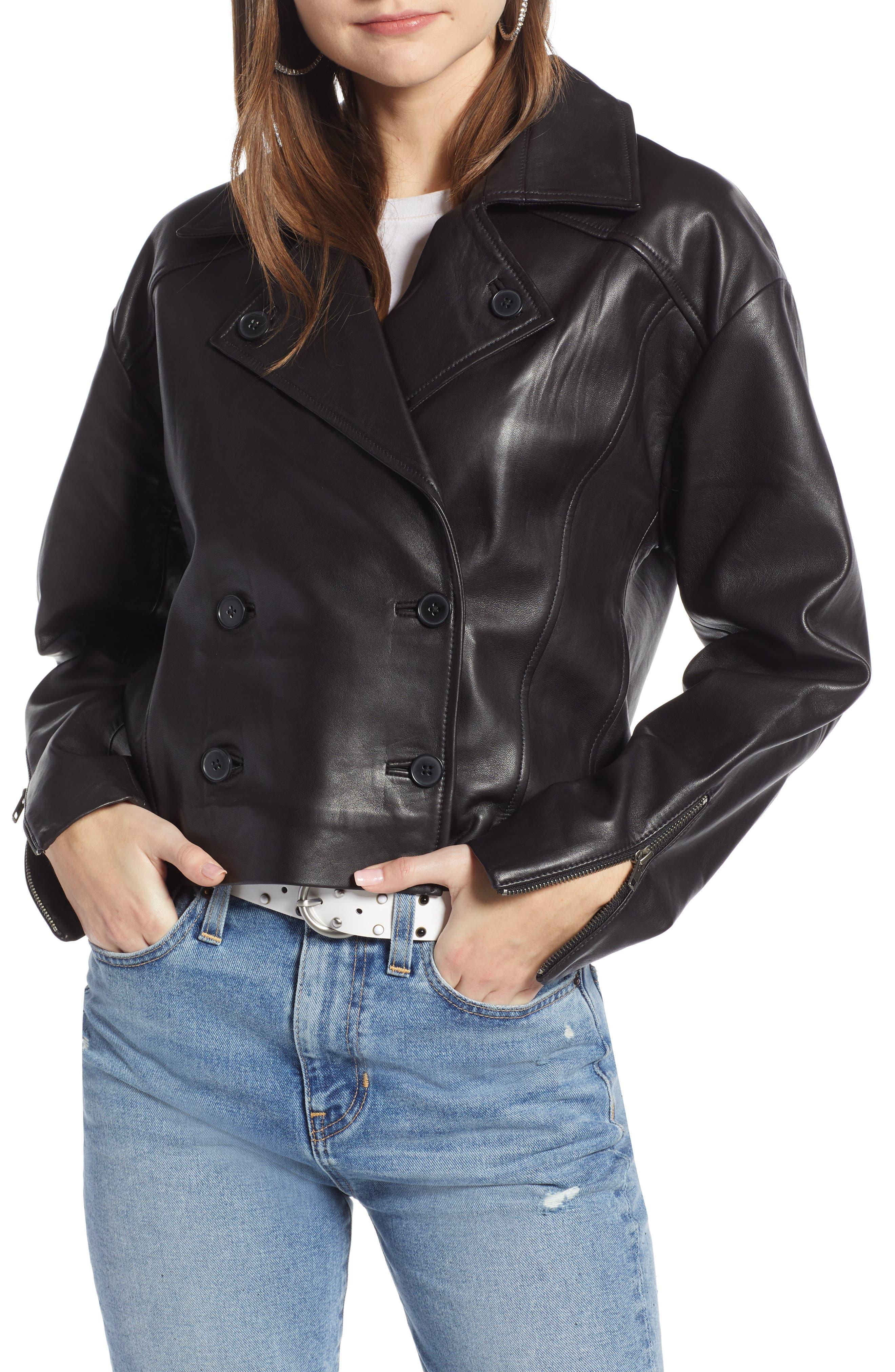 Shrunken Leather Jacket,                             Alternate thumbnail 4, color,                             BLACK