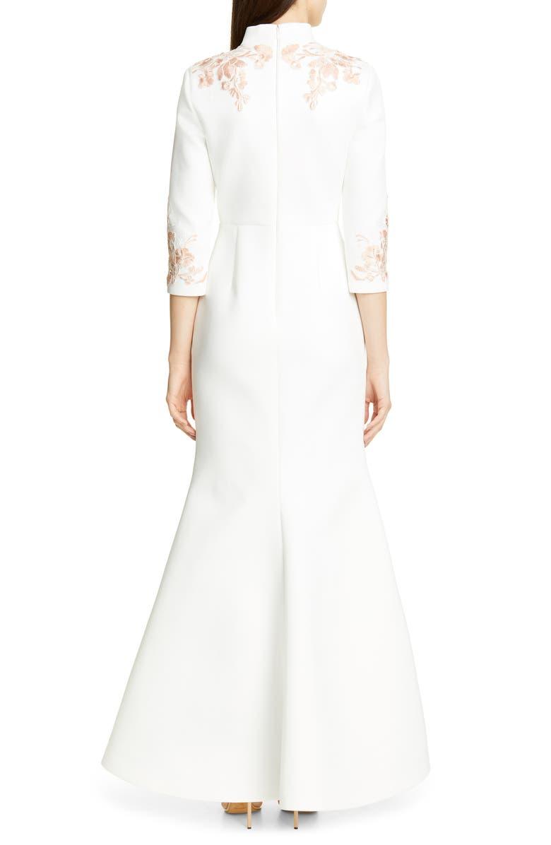 BADGLEY MISCHKA COLLECTION Floral Appliqué Scuba Evening Dress, Alternate, color, WHITE
