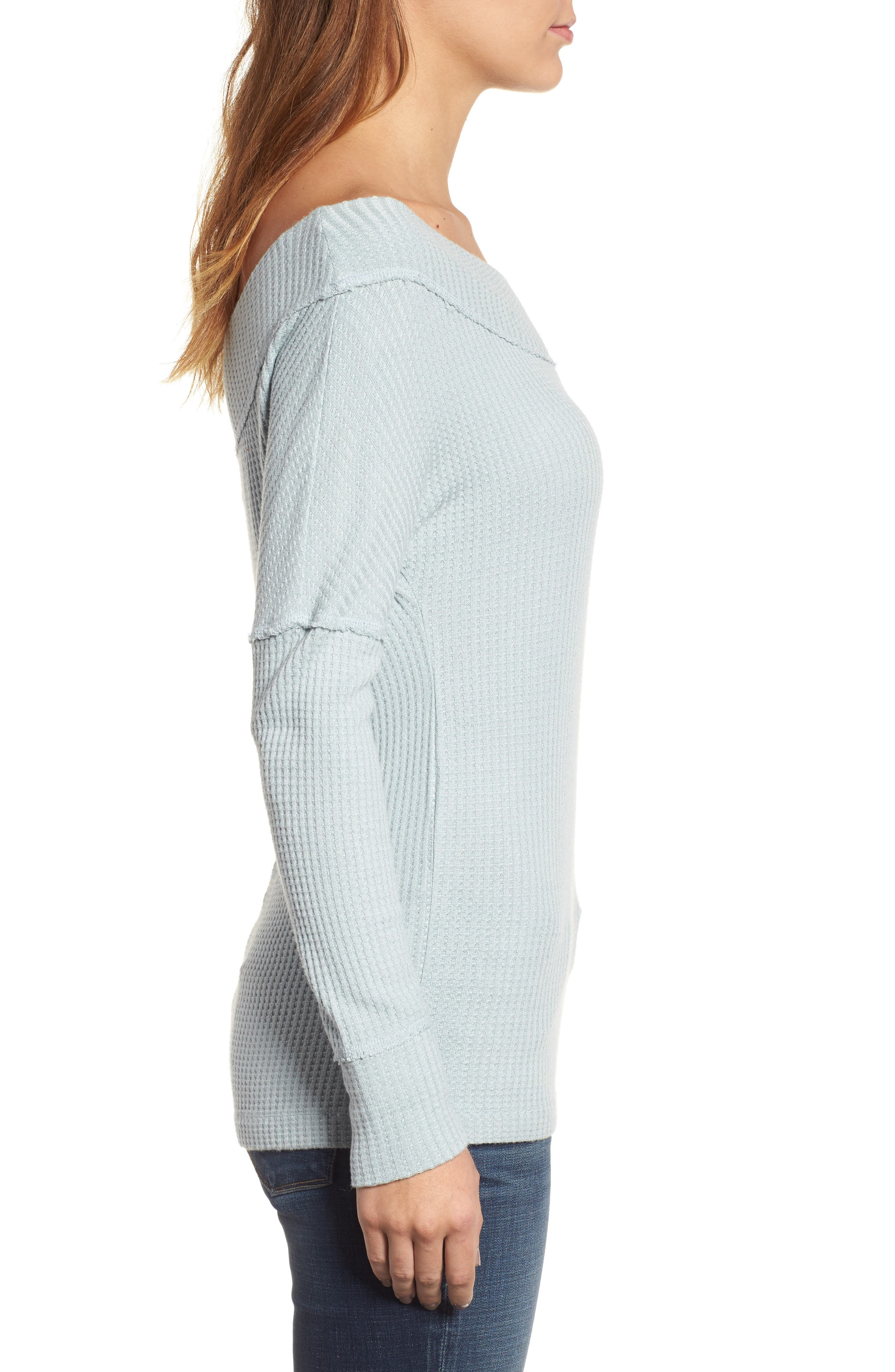 Off the Shoulder Thermal Knit Top,                             Alternate thumbnail 3, color,                             430