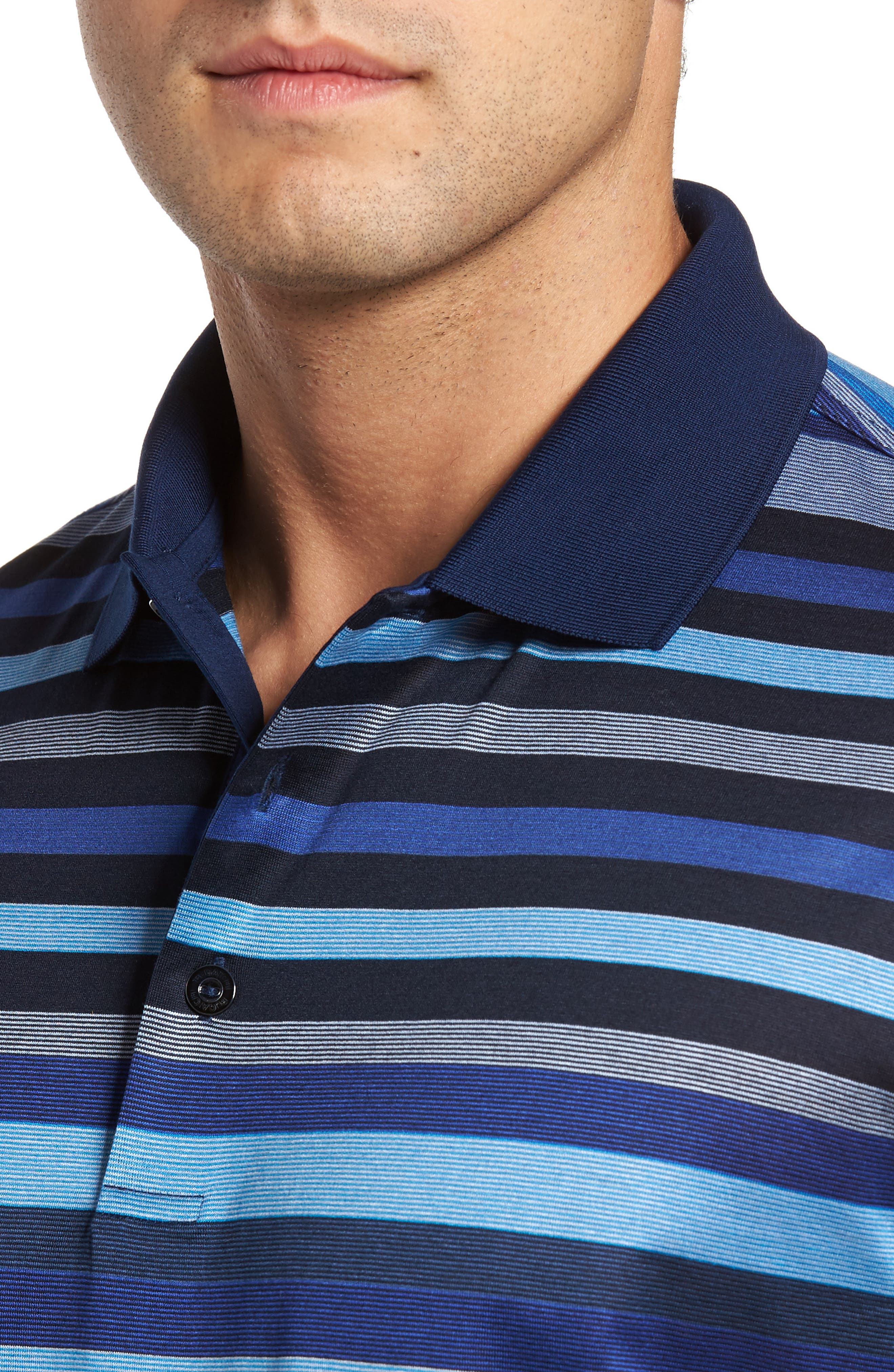 Classic Fit Stripe Jersey Polo,                             Alternate thumbnail 4, color,                             411